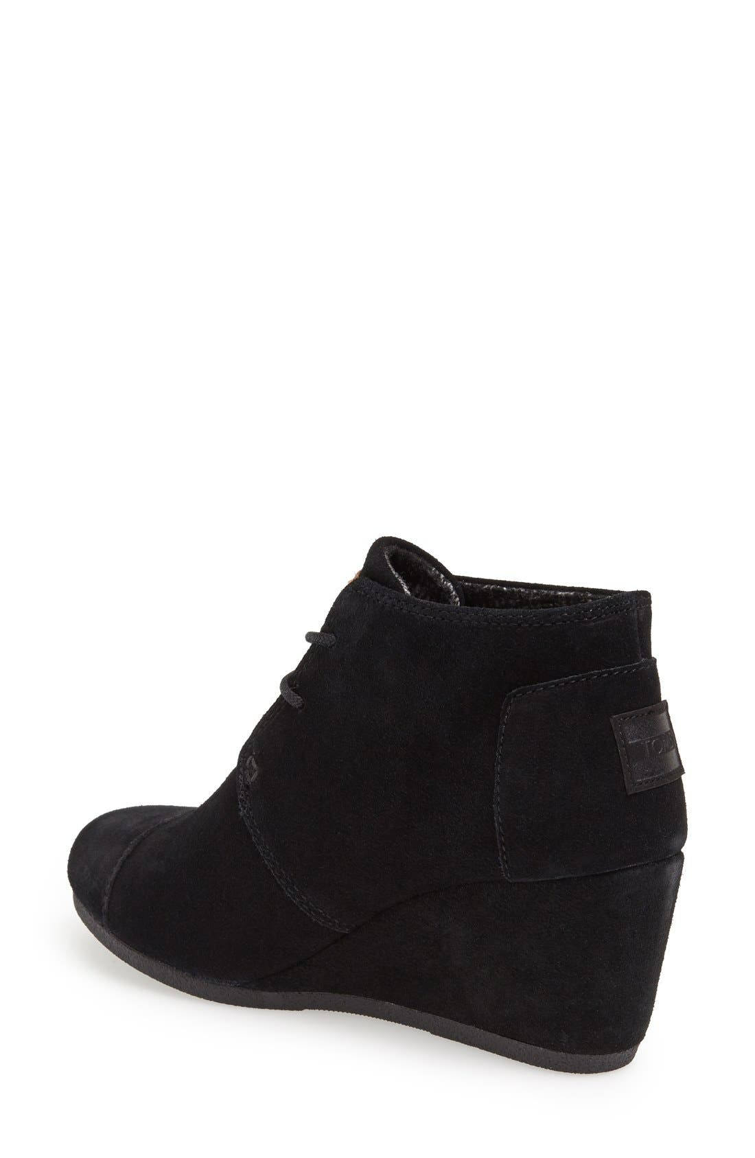 TOMS, 'Desert' Wedge Bootie, Alternate thumbnail 3, color, 001