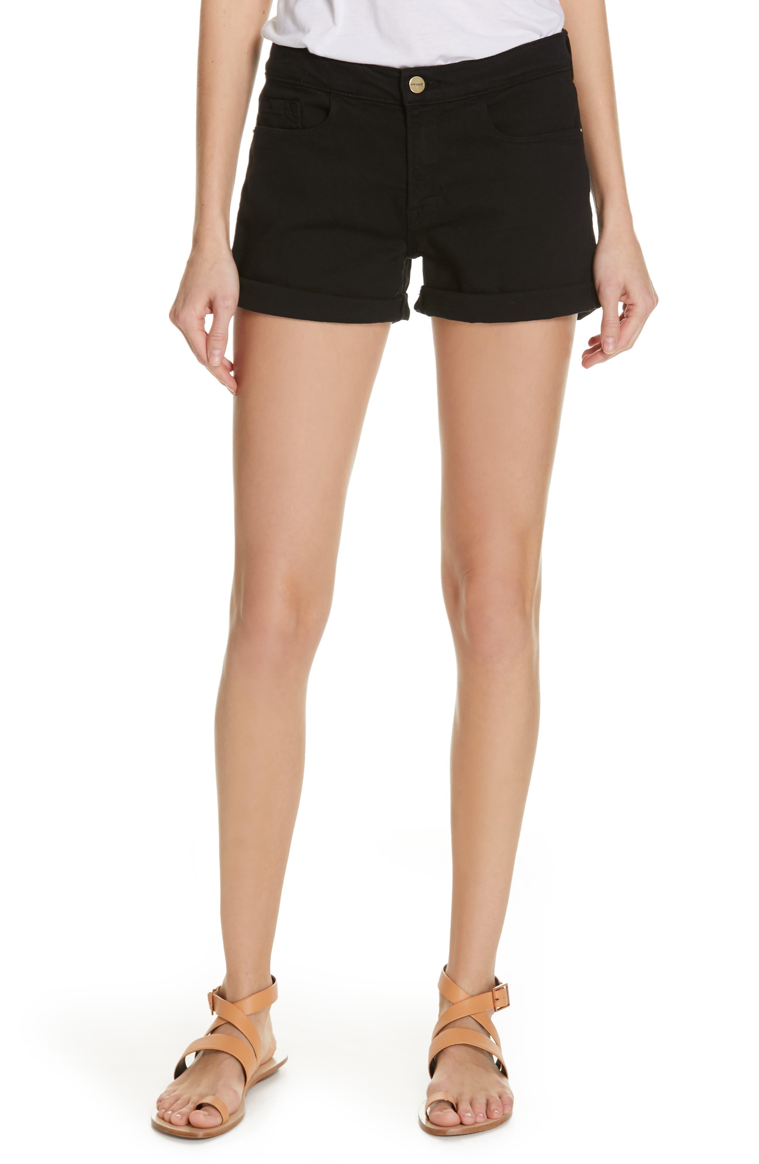 FRAME Le Cutoff Cuffed Jean Shorts, Main, color, NOIR