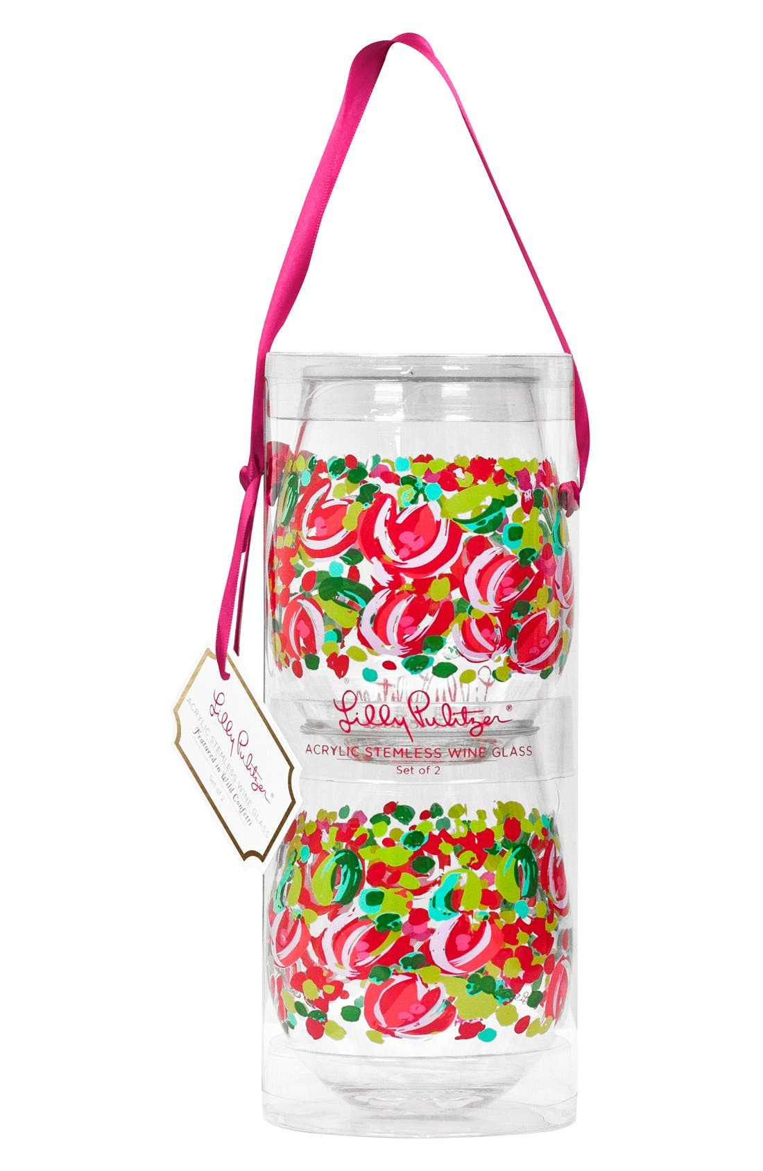 LILLY PULITZER<SUP>®</SUP>, Set of 2 Stemless Wine Glasses, Main thumbnail 1, color, 650