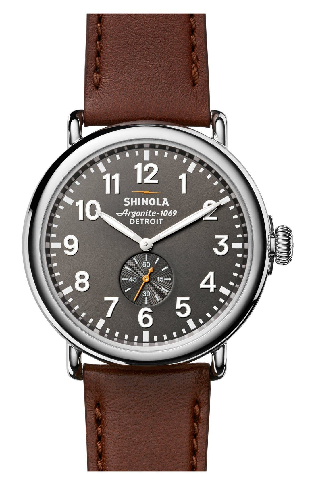 SHINOLA 'The Runwell' Leather Strap Watch, 47mm, Main, color, BROWN/ BLACK