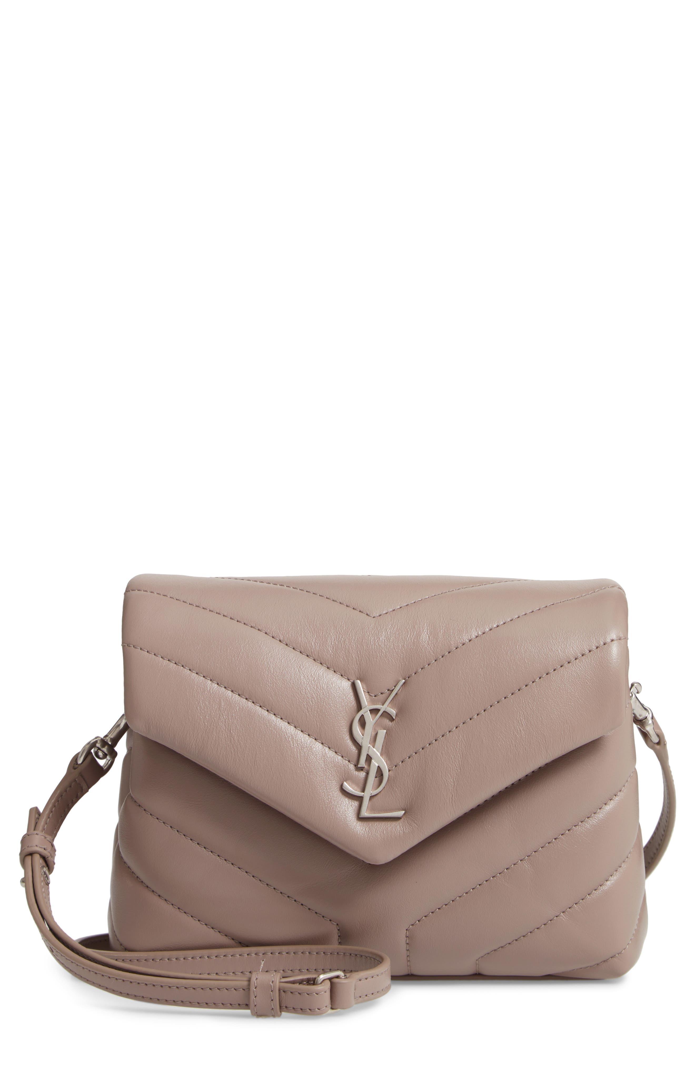 SAINT LAURENT, Toy Loulou Calfskin Leather Crossbody Bag, Main thumbnail 1, color, MINK