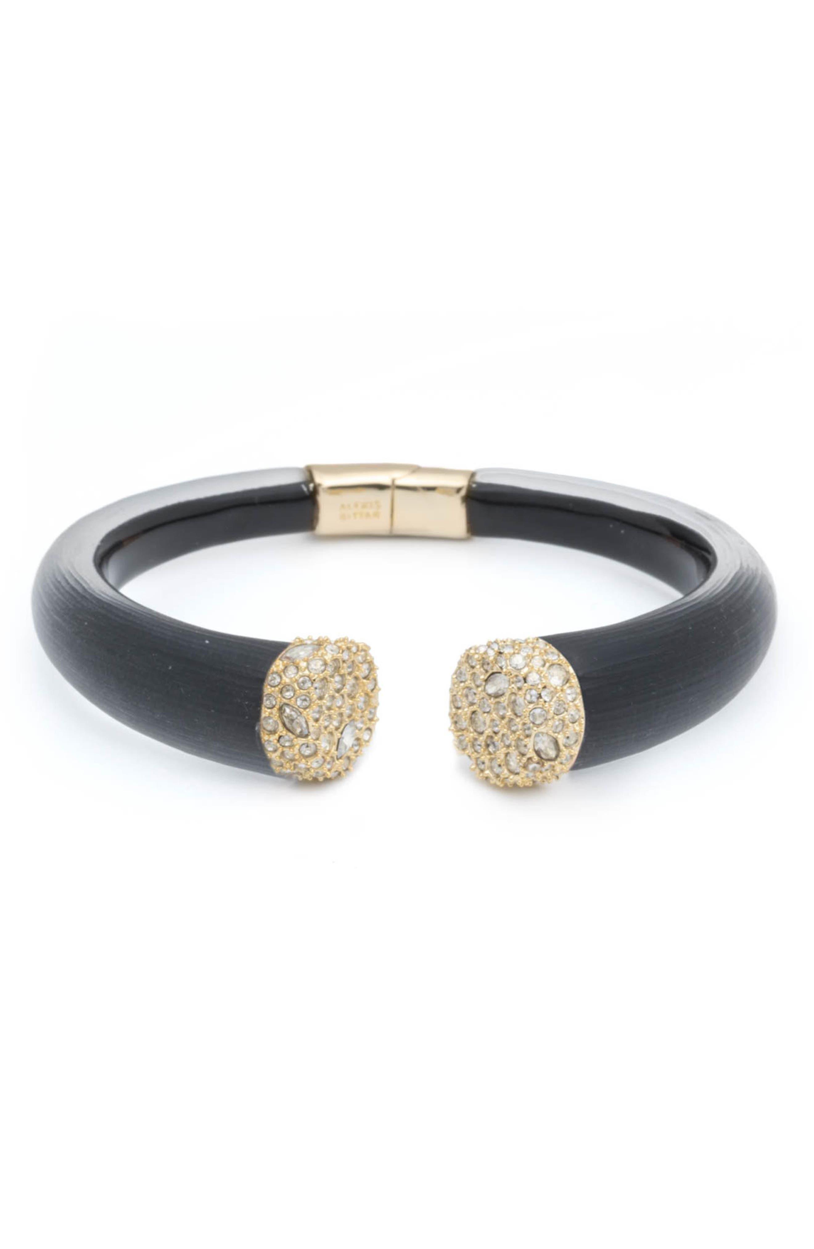 ALEXIS BITTAR, Essentials Encrusted Pavé Hinged Bracelet, Main thumbnail 1, color, BLACK