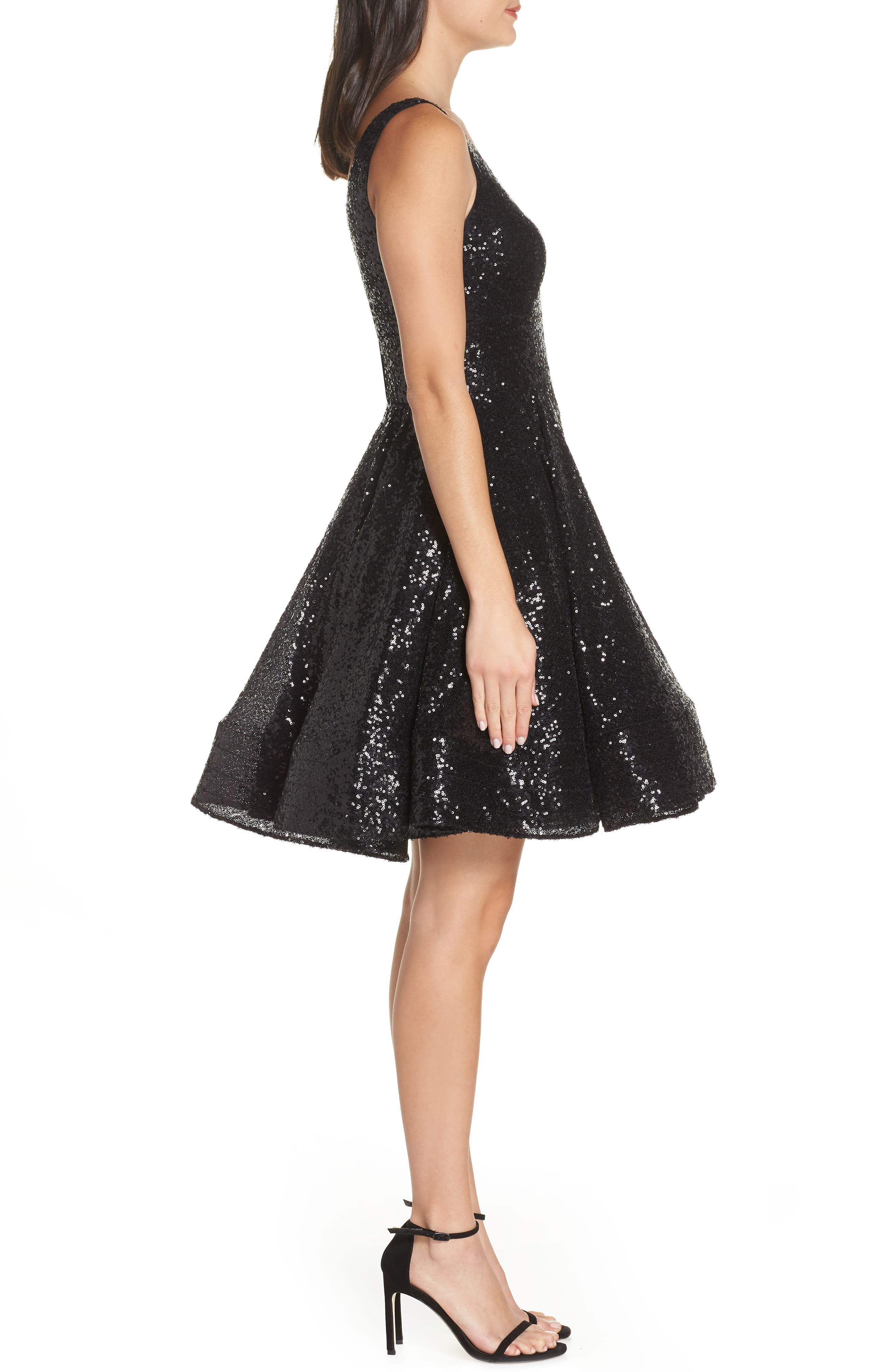 IEENA FOR MAC DUGGAL, Double V-Neck Fit & Flare Party Dress, Alternate thumbnail 4, color, NOIR