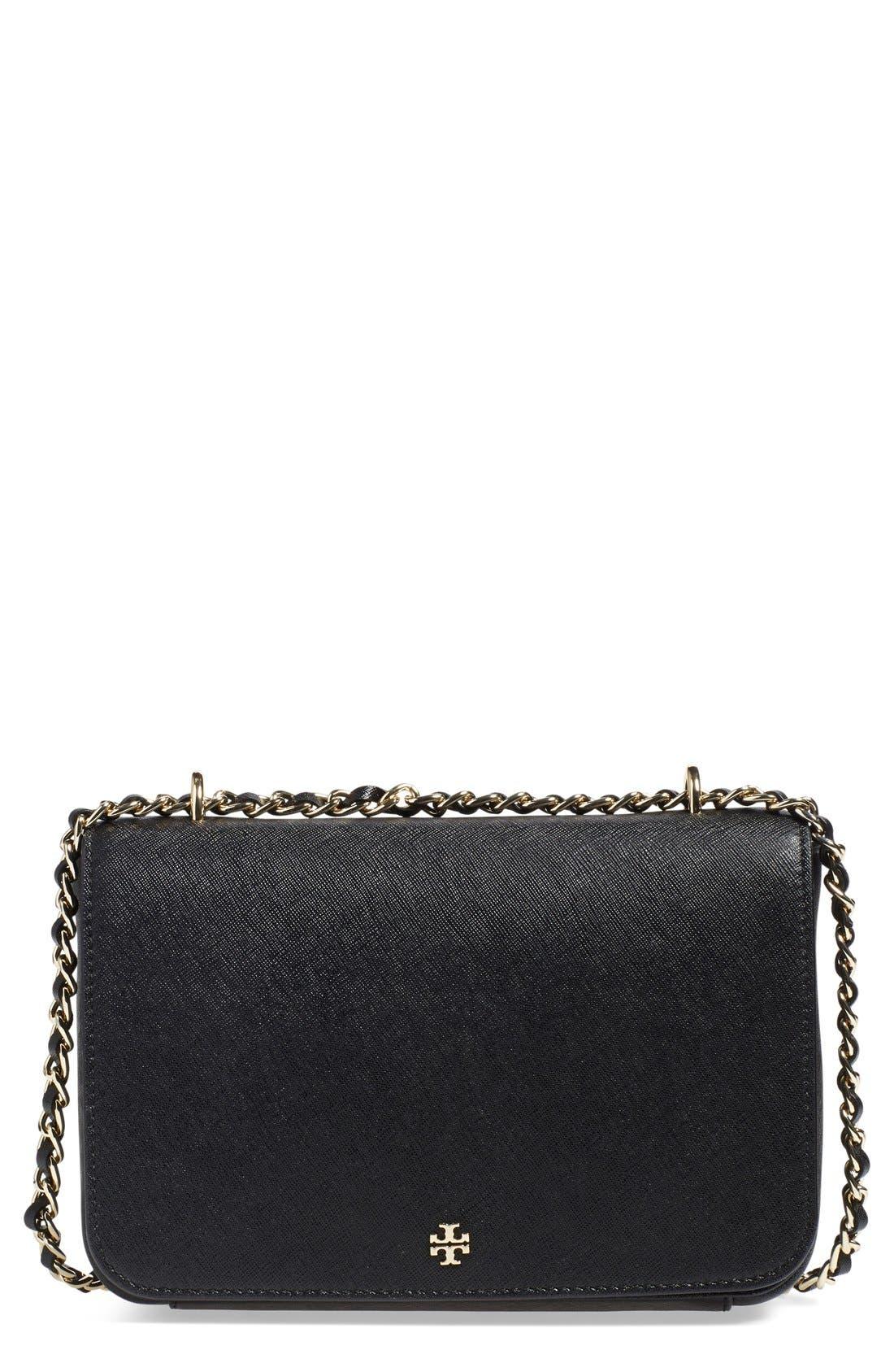 TORY BURCH, 'Robinson' Leather Convertible Shoulder Bag, Main thumbnail 1, color, 001
