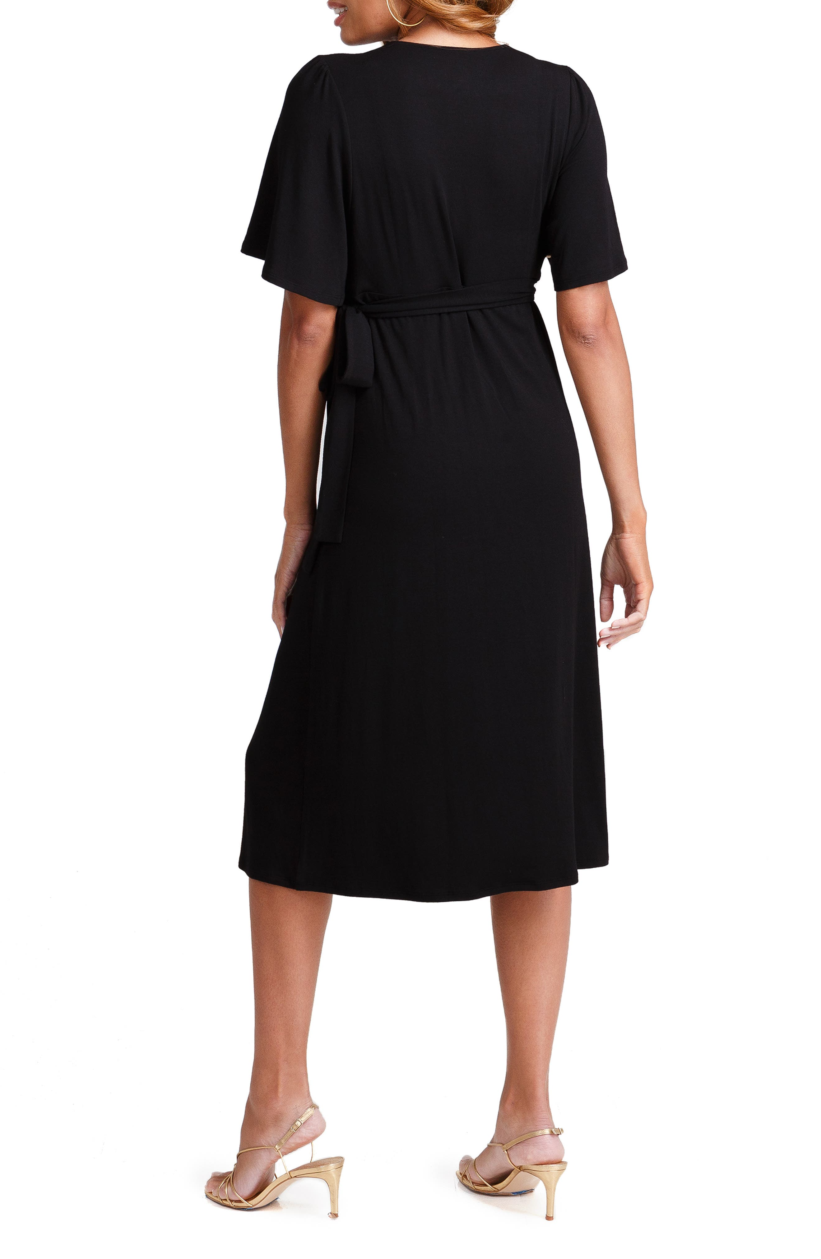 INGRID & ISABEL<SUP>®</SUP>, Flutter Sleeve Knit Wrap Maternity/Nursing Dress, Alternate thumbnail 2, color, JET BLACK