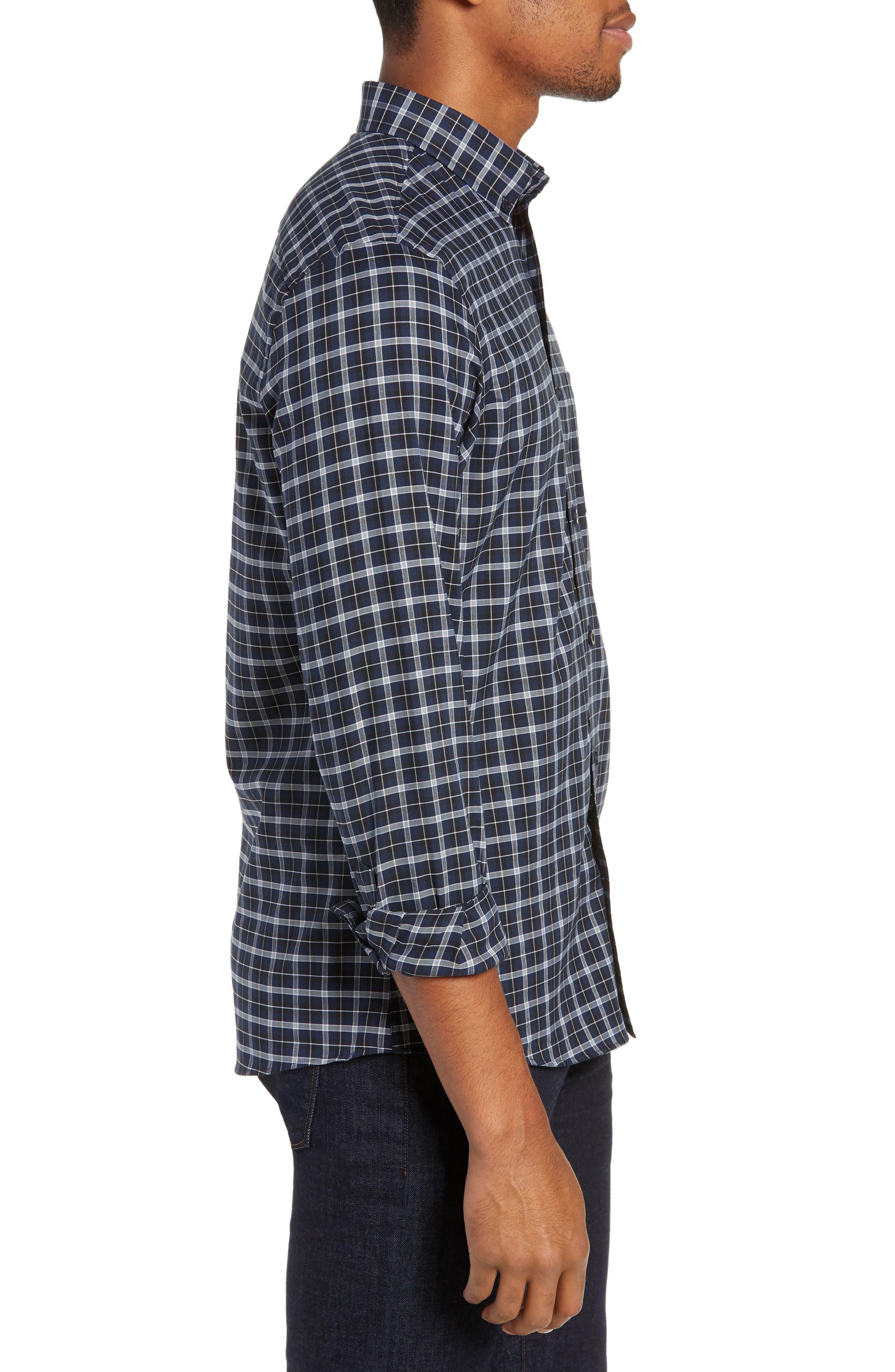 NORDSTROM MEN'S SHOP, Tech-Smart Slim Fit Check Sport Shirt, Alternate thumbnail 4, color, NAVY IRIS BLACK CHECK