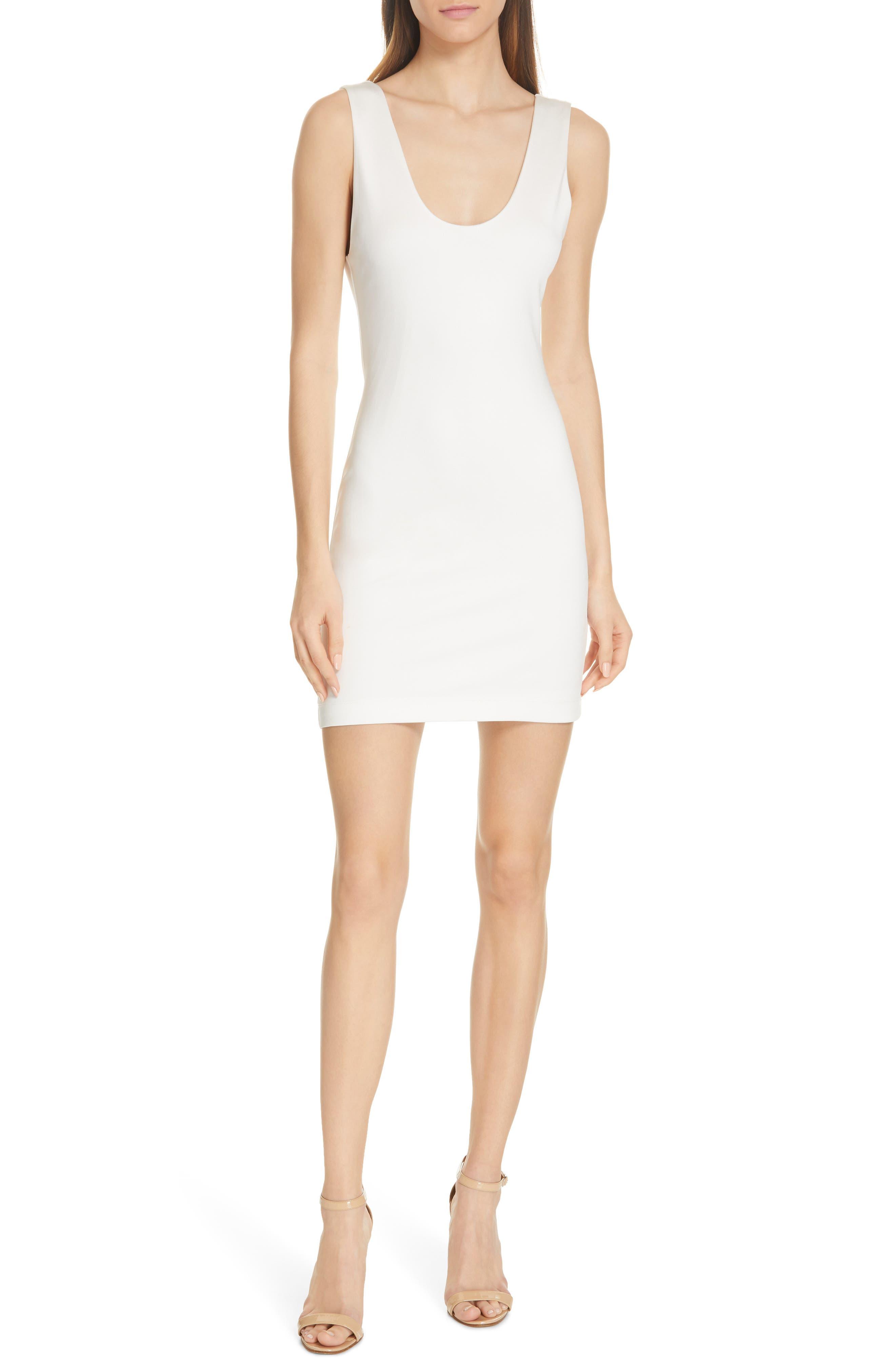 Alice + Olivia James Scoop Neck Body-Con Tank Dress, Ivory