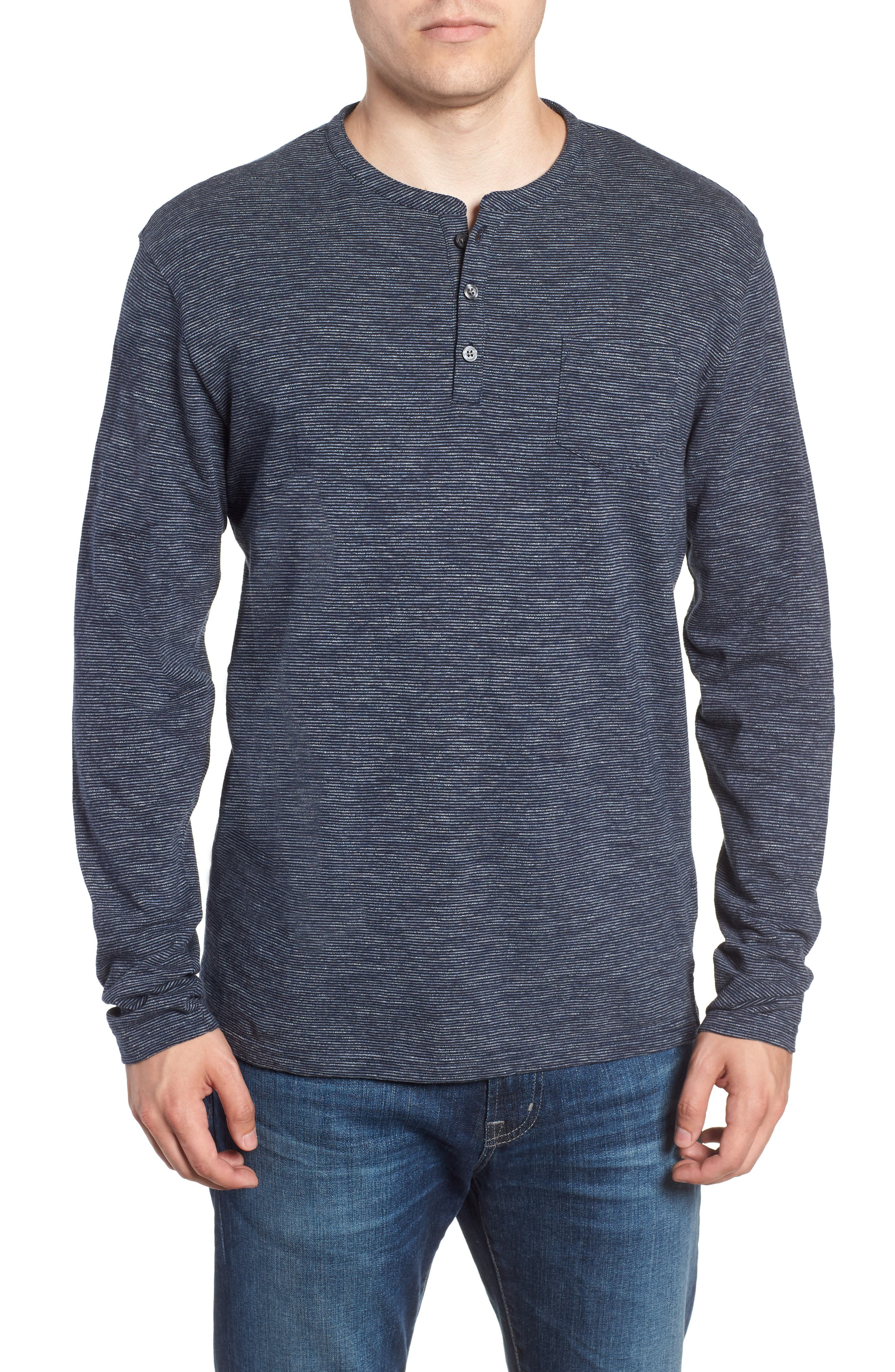 RODD & GUNN, Tasman Downs Regular Fit Henley, Main thumbnail 1, color, NAVY