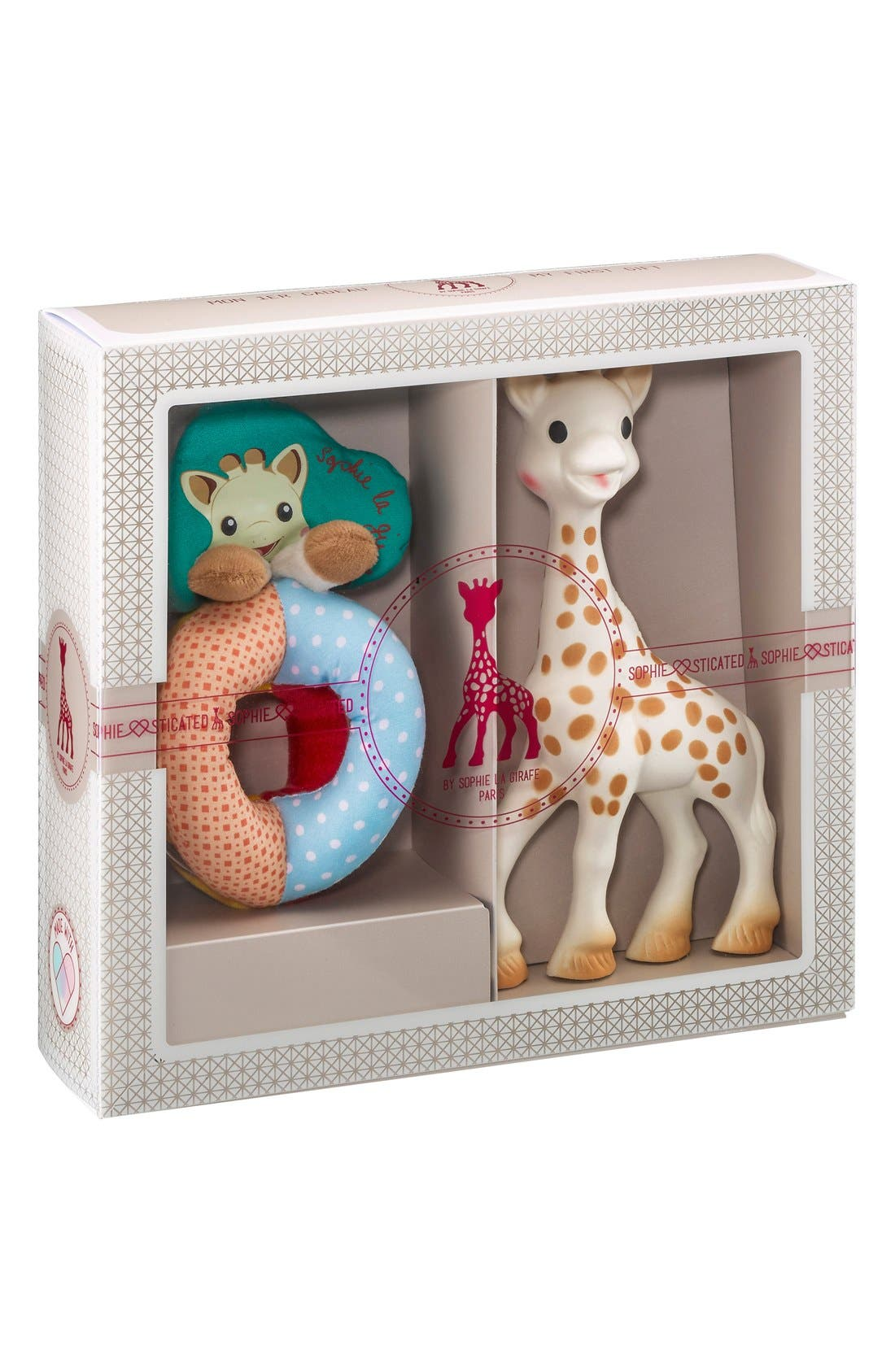 SOPHIE LA GIRAFE, 'Sophiesticated' Rattle & Teething Toy, Main thumbnail 1, color, CREAM