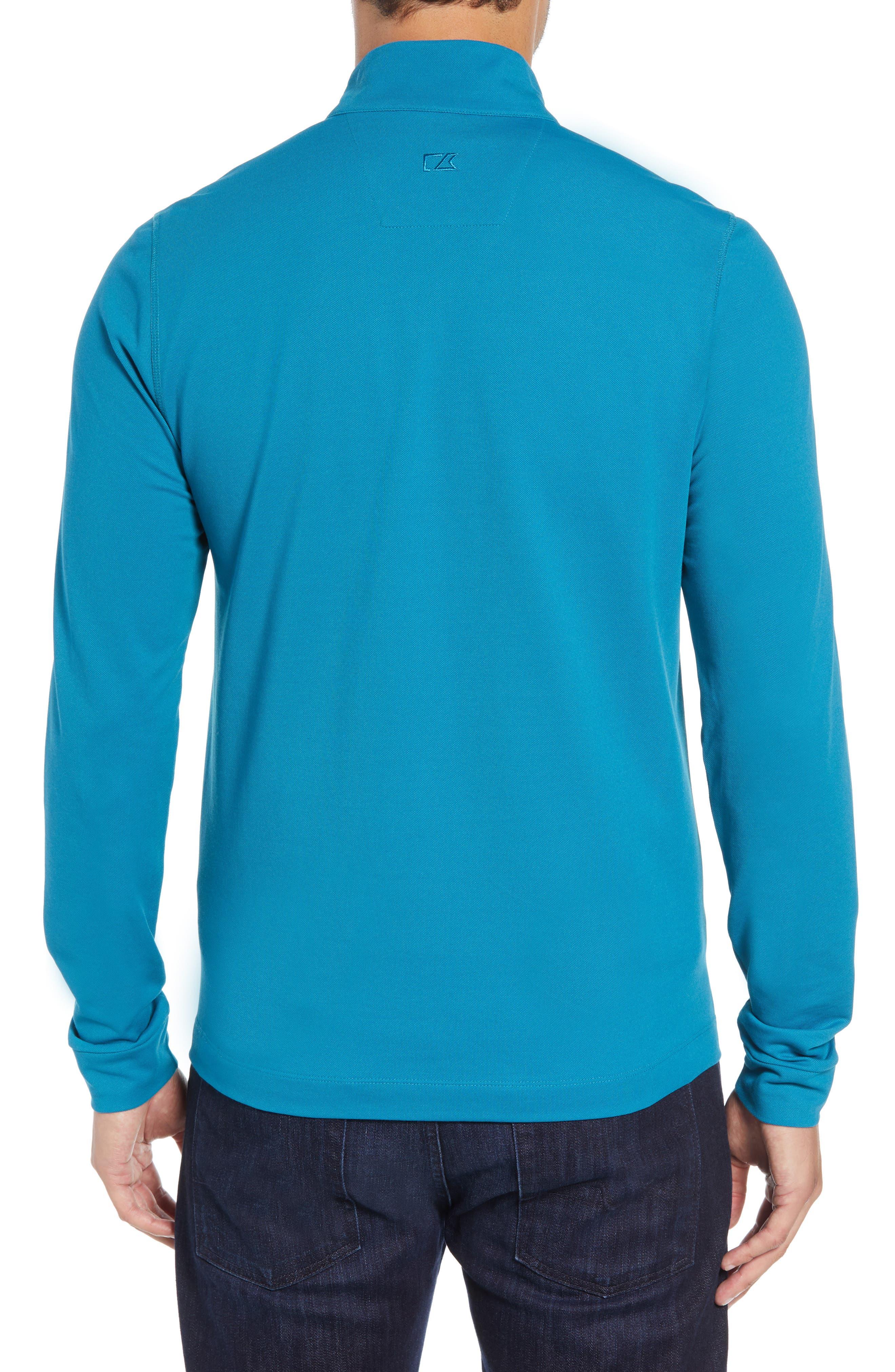CUTTER & BUCK, Advantage Regular Fit DryTec Mock Neck Pullover, Alternate thumbnail 2, color, TEAL BLUE