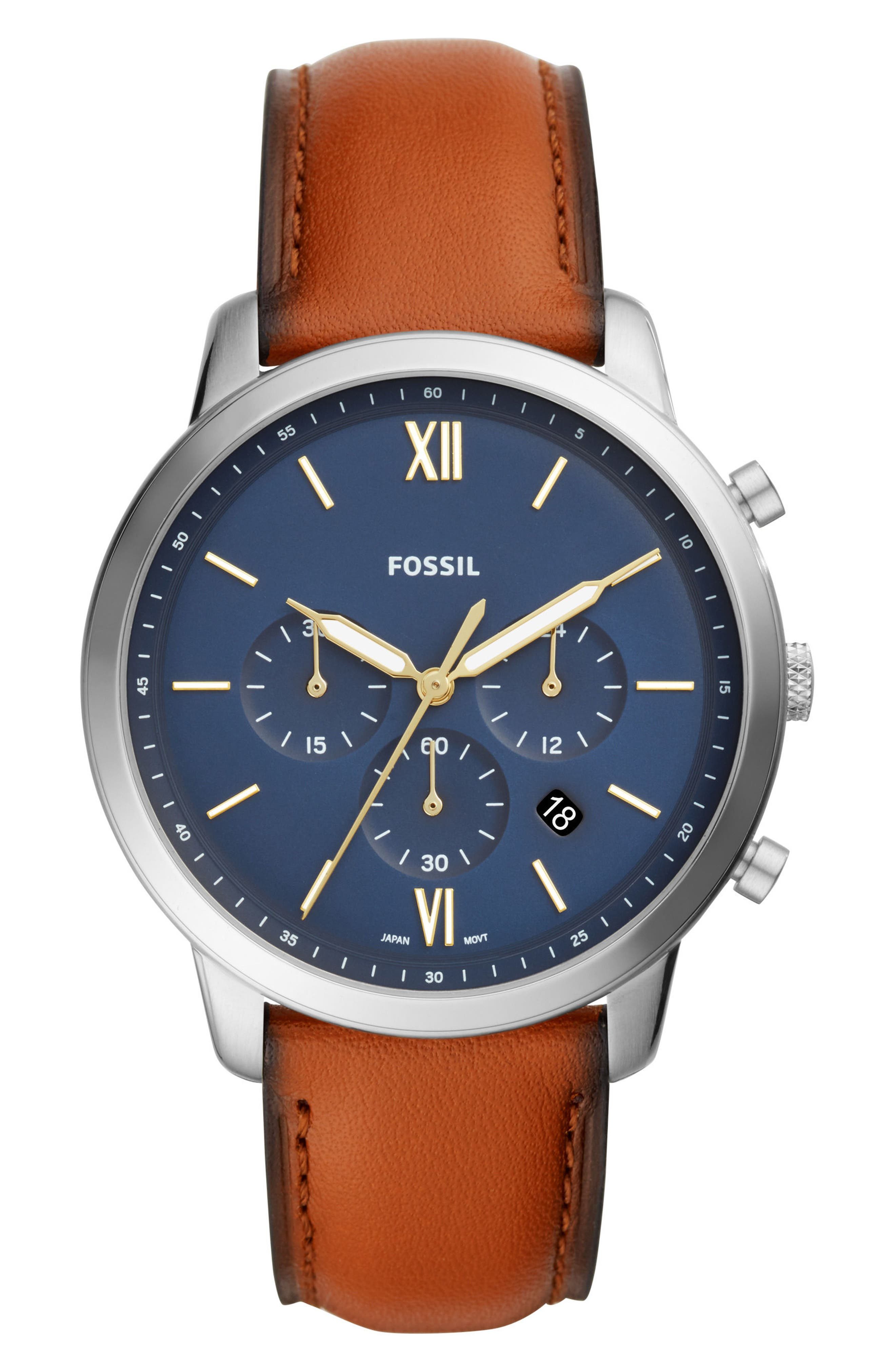 FOSSIL, Neutra Chronograph Leather Strap Watch, 44mm, Main thumbnail 1, color, BROWN/ BLUE/ SILVER