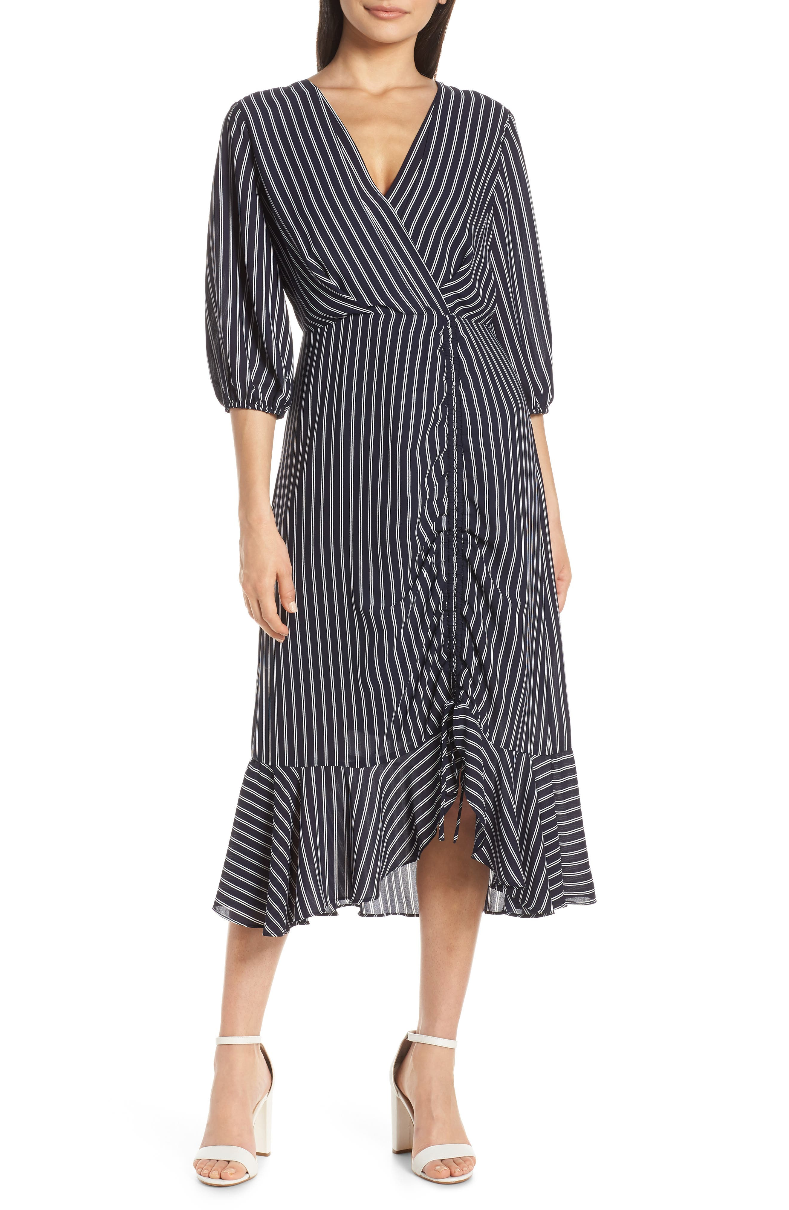 Chelsea28 Pinstripe Ruched Dress, Blue