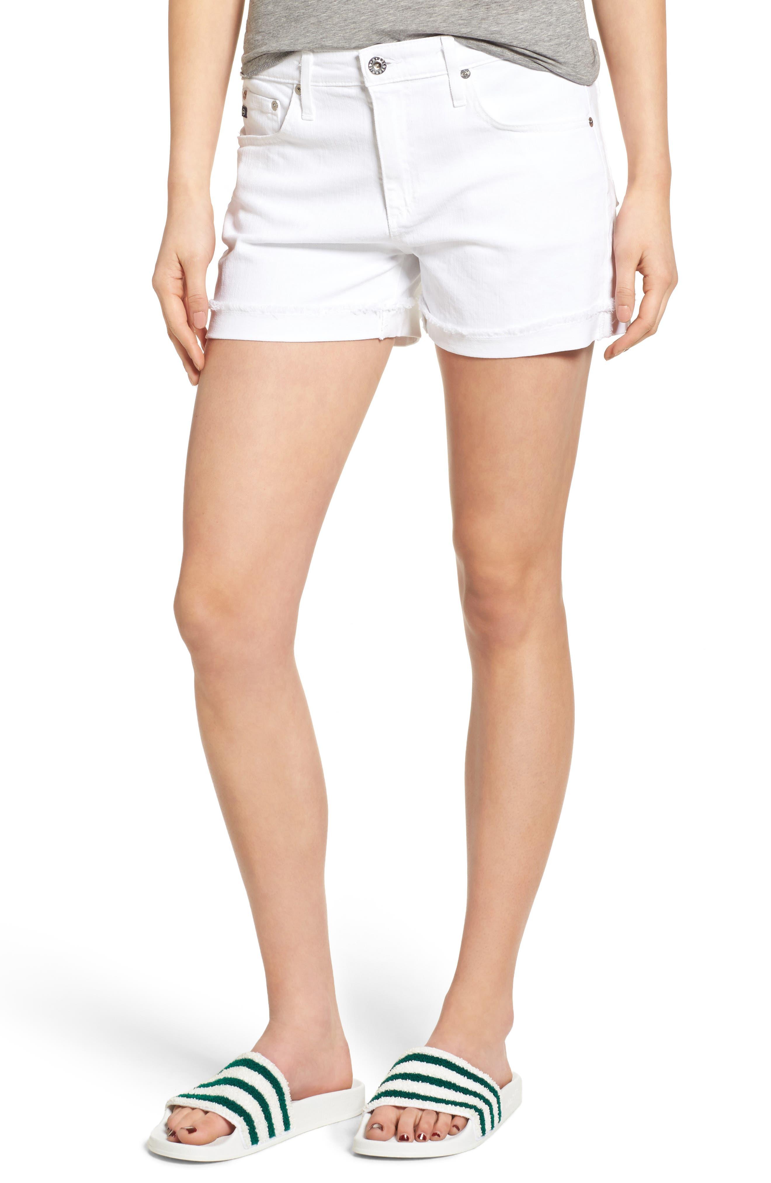 AG, 'Hailey' Boyfriend Shorts, Main thumbnail 1, color, WHITE