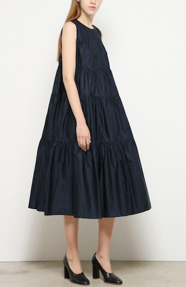 Tiered Cotton Midi Dress, video thumbnail