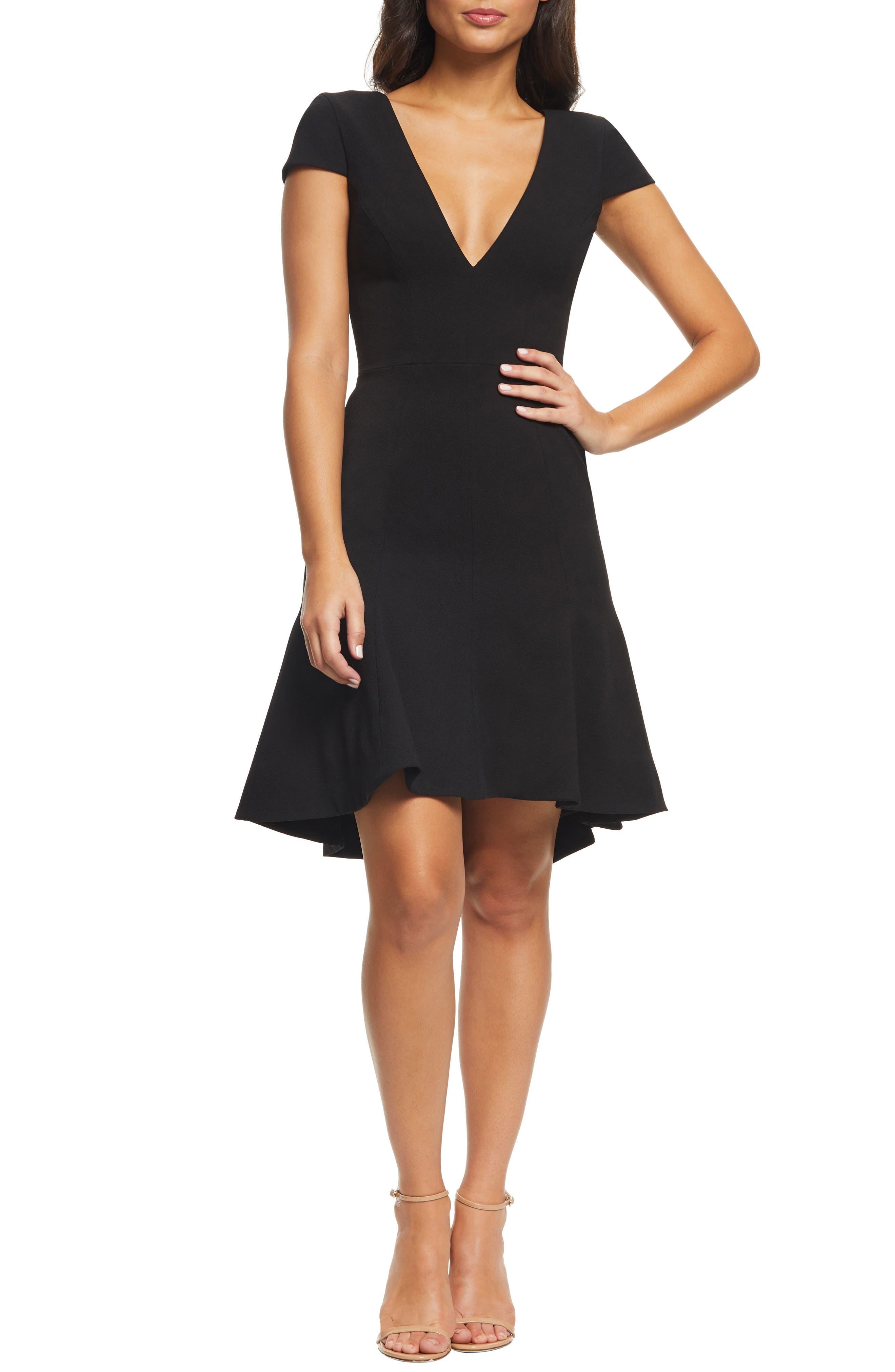 Dress The Population Bettie High/low Ruffle Hem Cocktail Dress, Black