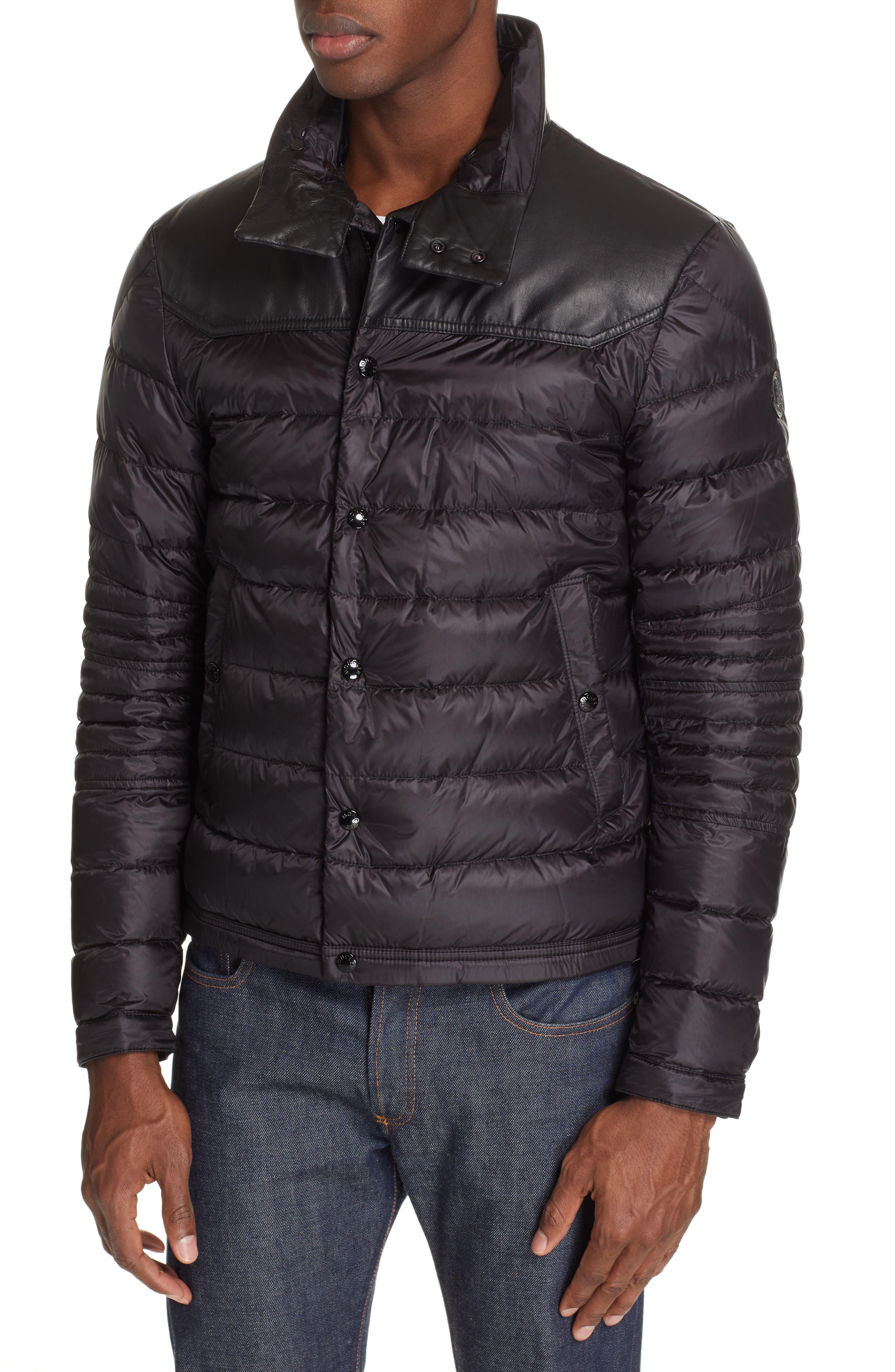 MONCLER, Vasserot Genuine Shearling Collar Jacket, Alternate thumbnail 2, color, BLACK