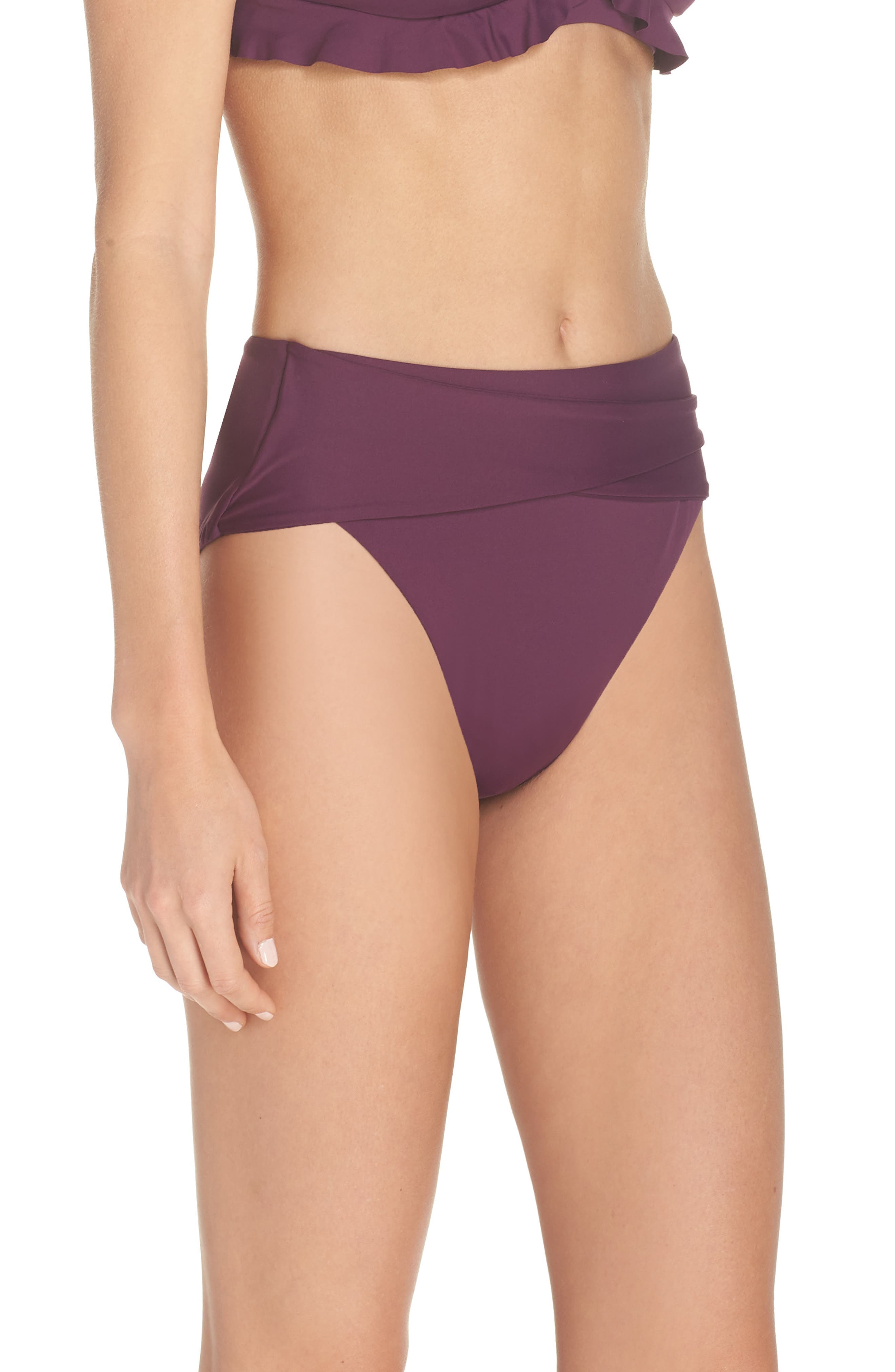 BECCA, Color Code Crossover High Waist Bikini Bottoms, Alternate thumbnail 4, color, MERLOT