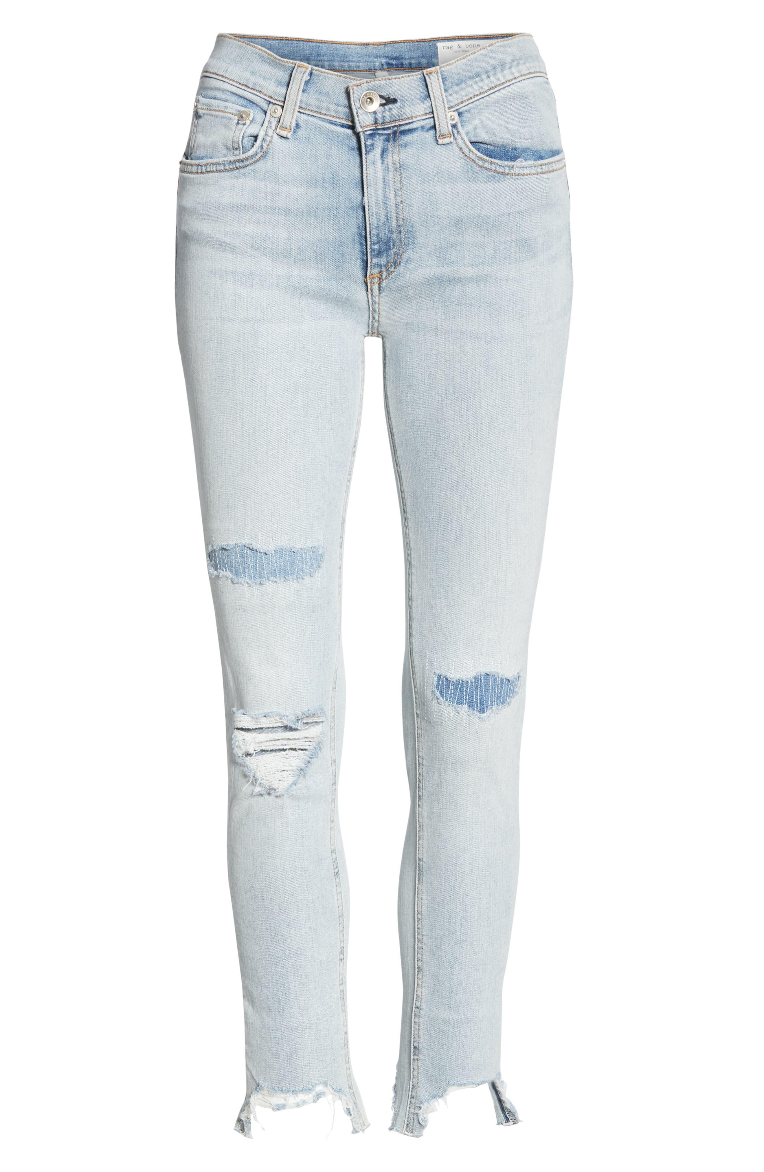 RAG & BONE, JEAN Ripped Ankle Skinny Jeans, Alternate thumbnail 7, color, 450