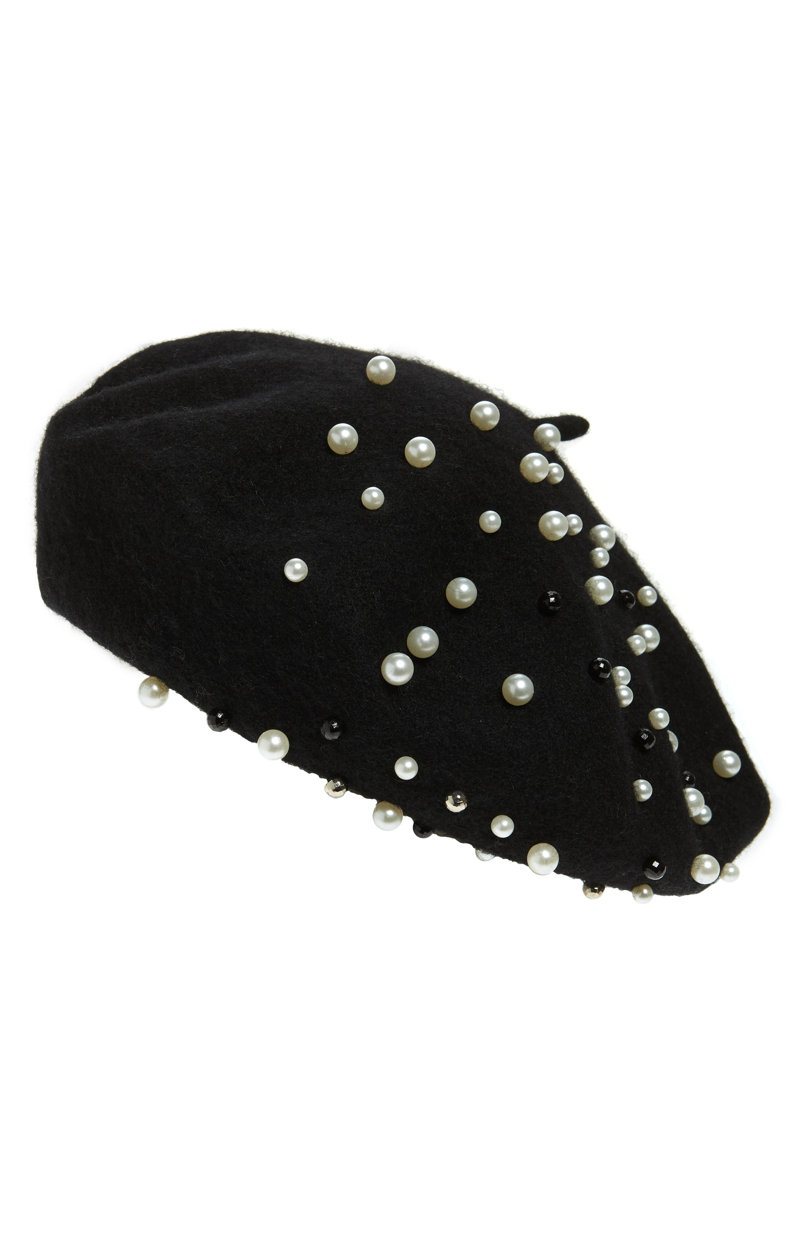 HALOGEN<SUP>®</SUP>, x Atlantic-Pacific Embellished Beret, Main thumbnail 1, color, 001