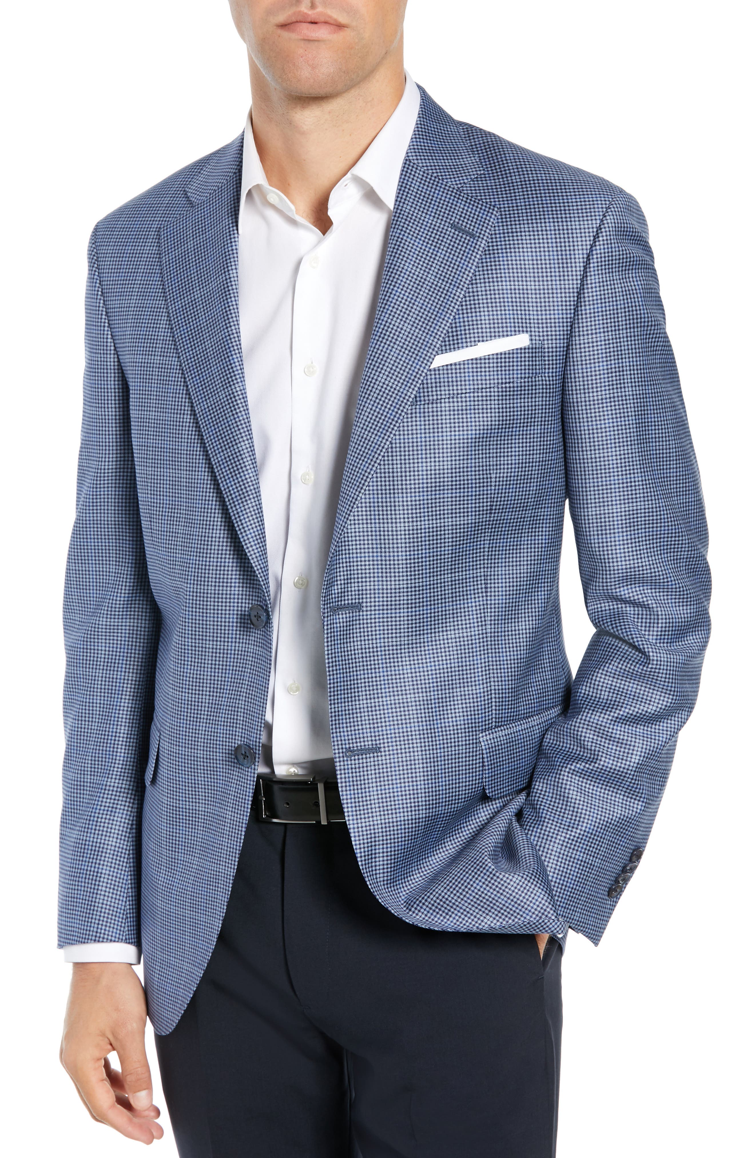 PETER MILLAR Classic Fit Houndstooth Sport Coat, Main, color, LIGHT BLUE