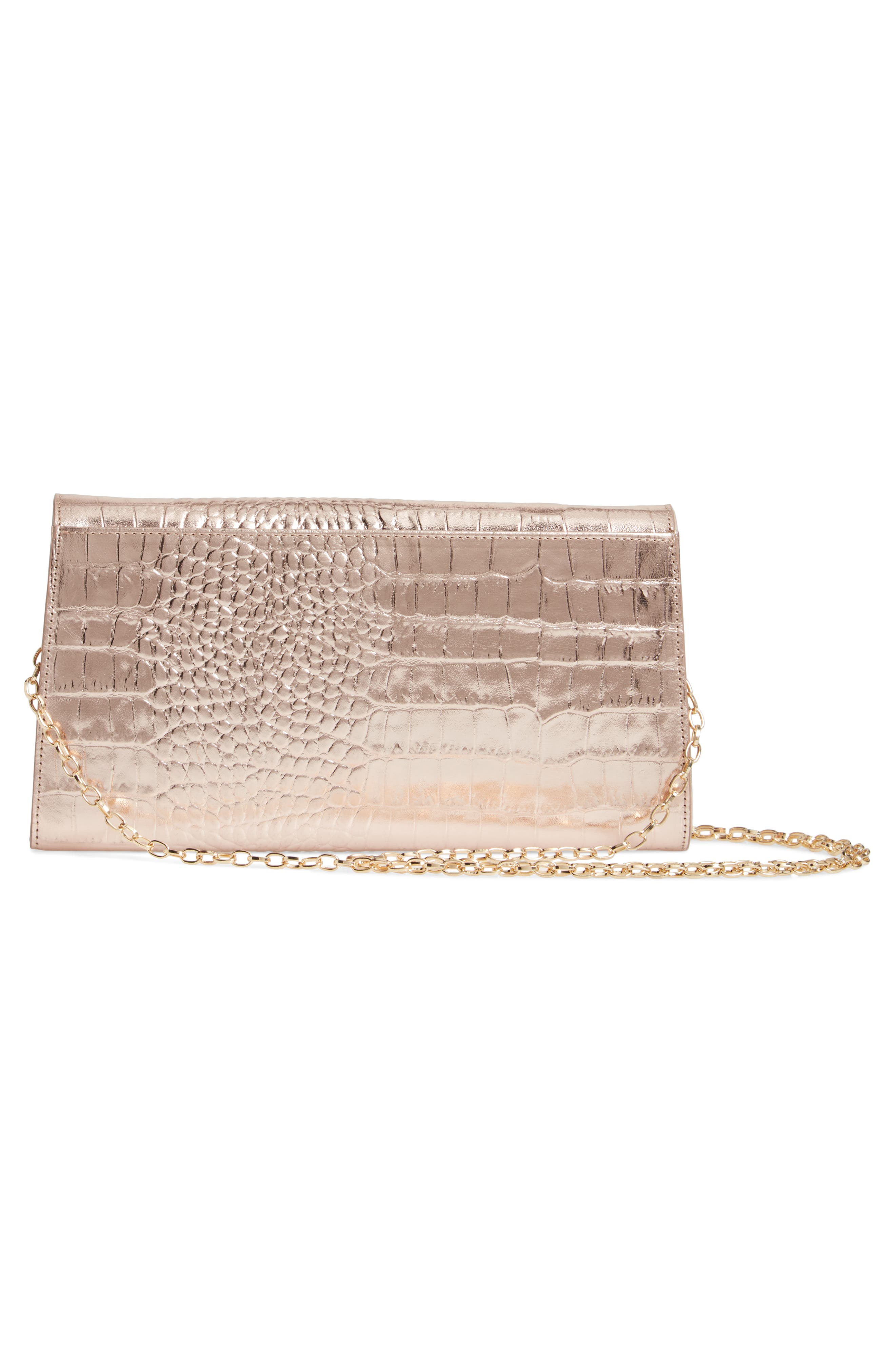 NORDSTROM, Croc Embossed Metallic Leather Clutch, Alternate thumbnail 4, color, 660