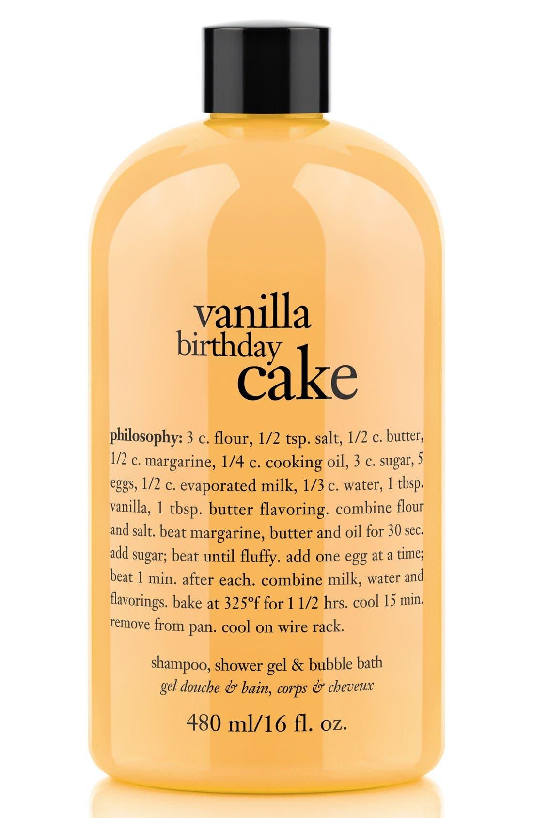PHILOSOPHY, 'vanilla birthday cake' shampoo, shower gel & bubble bath, Main thumbnail 1, color, NO COLOR