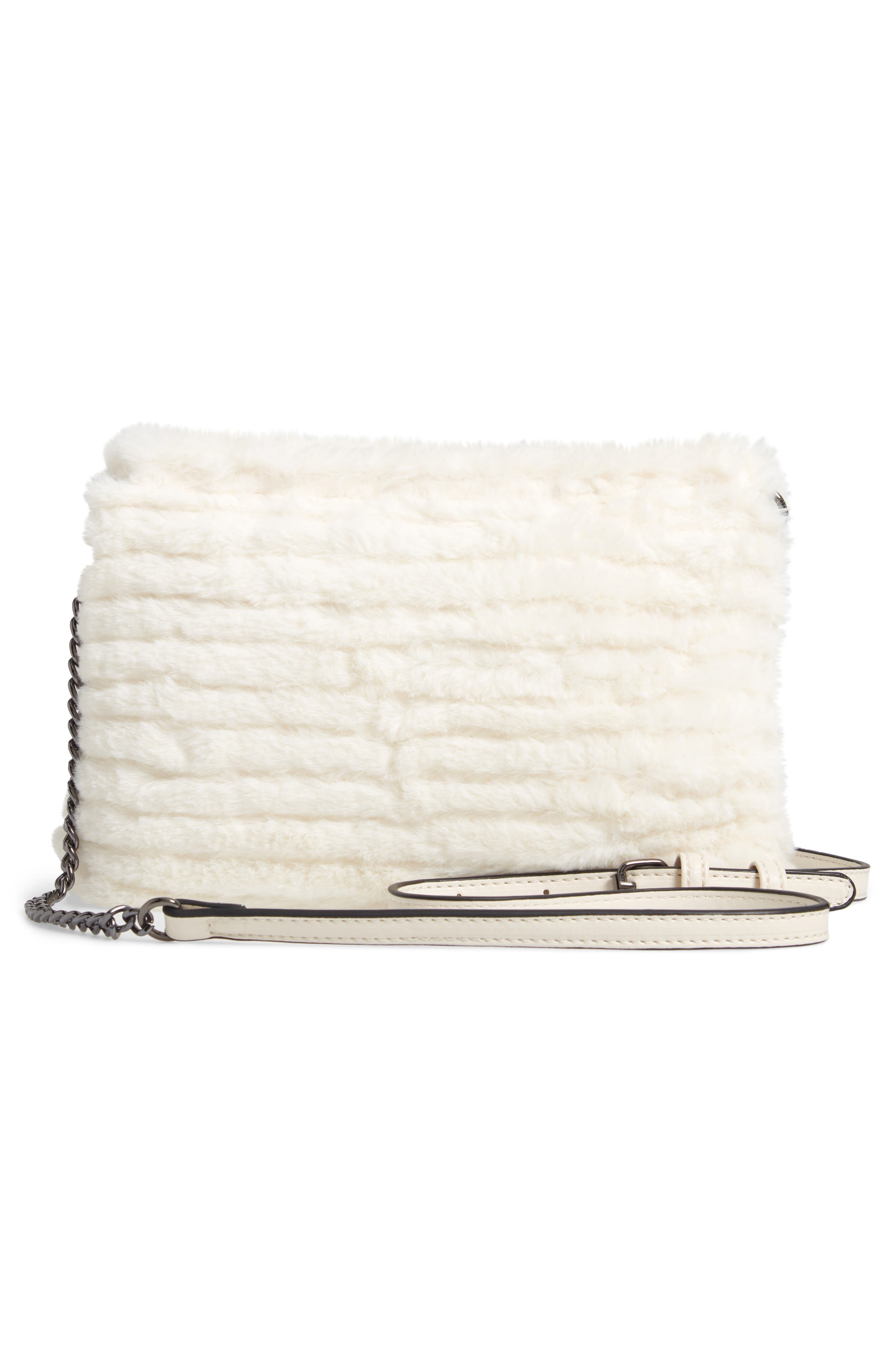 VIOLET RAY NEW YORK, Quilted Faux Fur Crossbody Bag, Alternate thumbnail 4, color, 100
