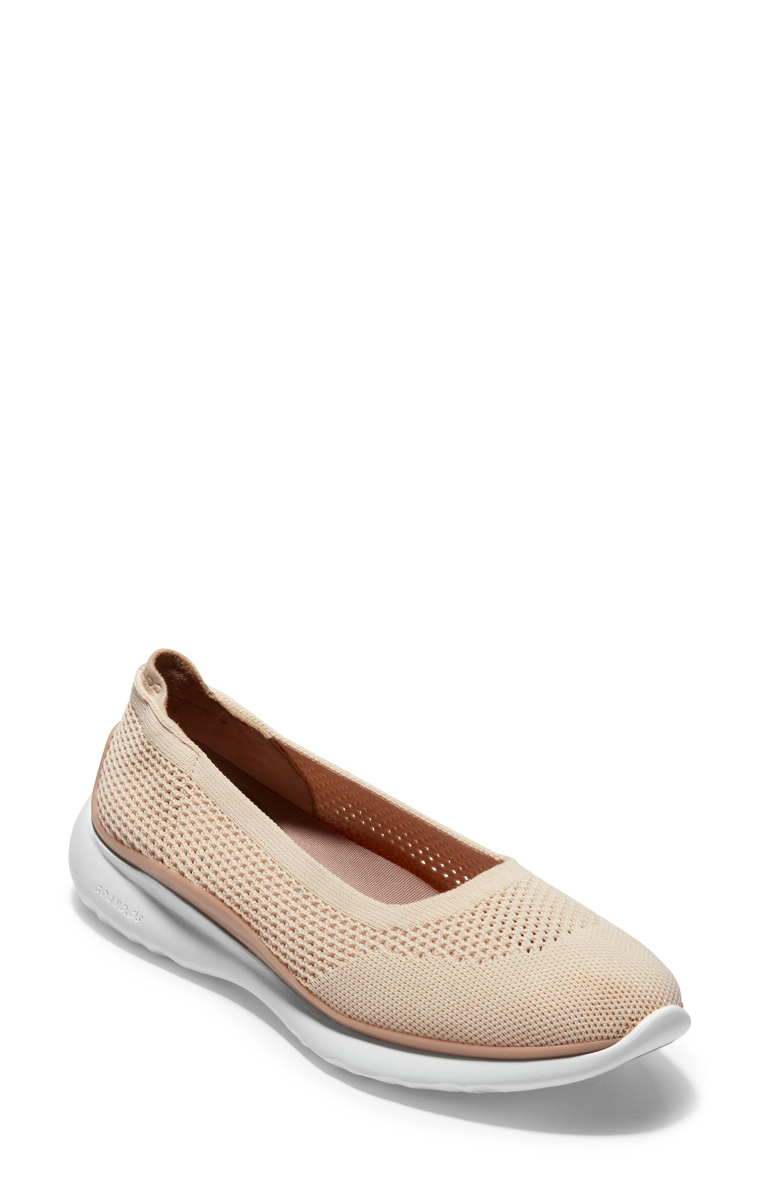 COLE HAAN, ZeroGrand Knit Sneaker, Main thumbnail 1, color, SAND/ ROSE KNIT/ LEATHER