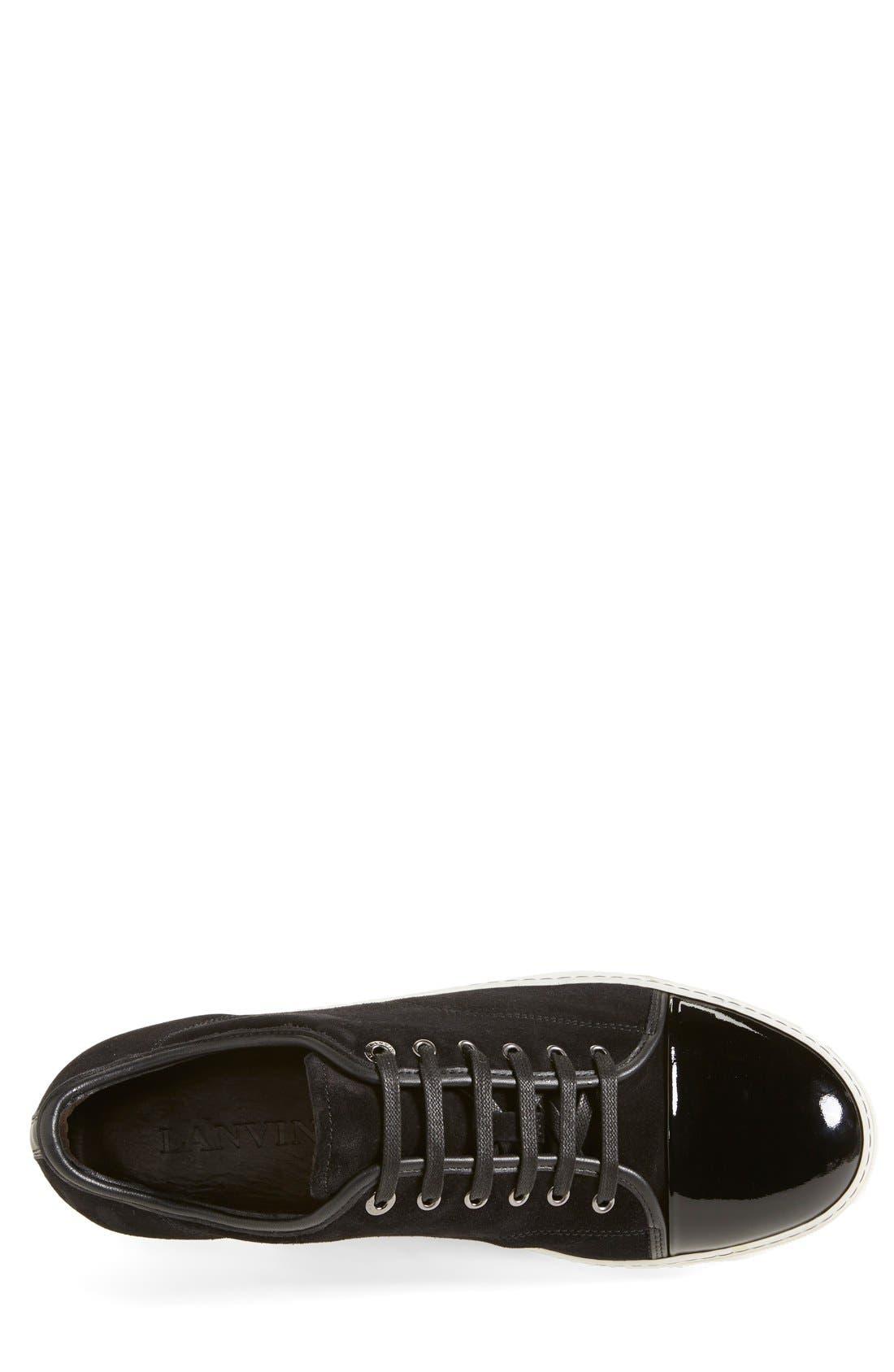 LANVIN, Low Top Suede Sneaker, Alternate thumbnail 4, color, BLACK