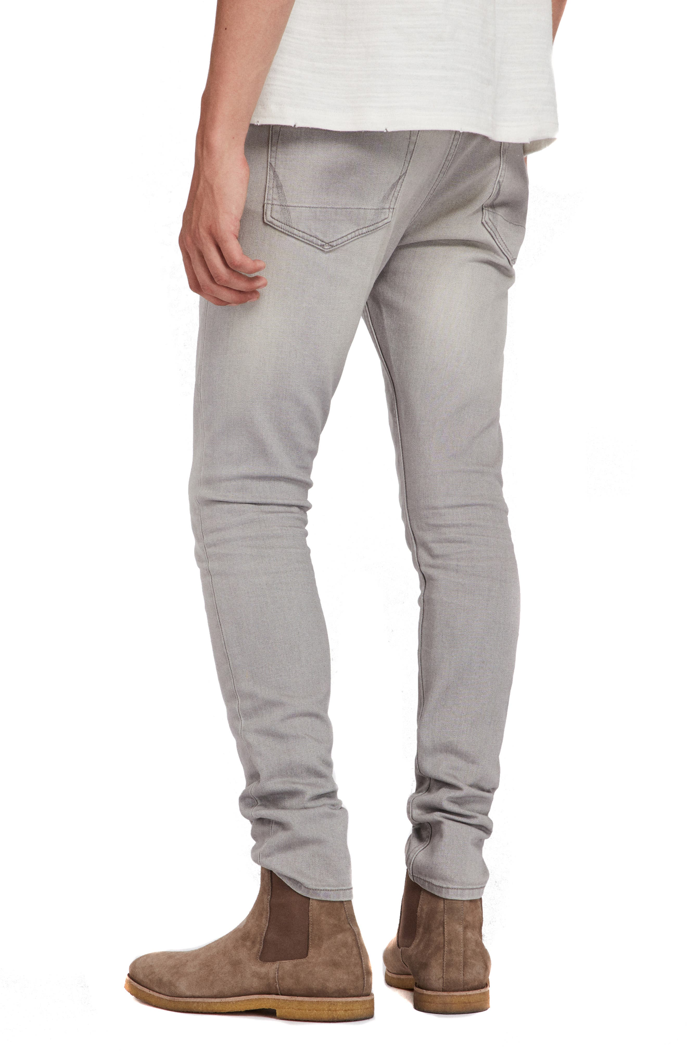 ALLSAINTS, Raveline Cigarette Skinny Fit Jeans, Alternate thumbnail 2, color, GREY