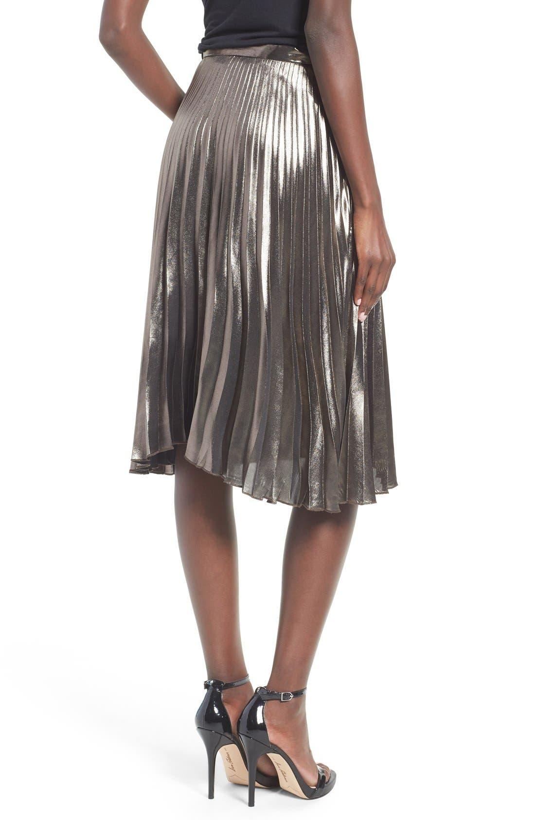 ASTR THE LABEL, ASTR Celeste Pleated Skirt, Alternate thumbnail 3, color, 224