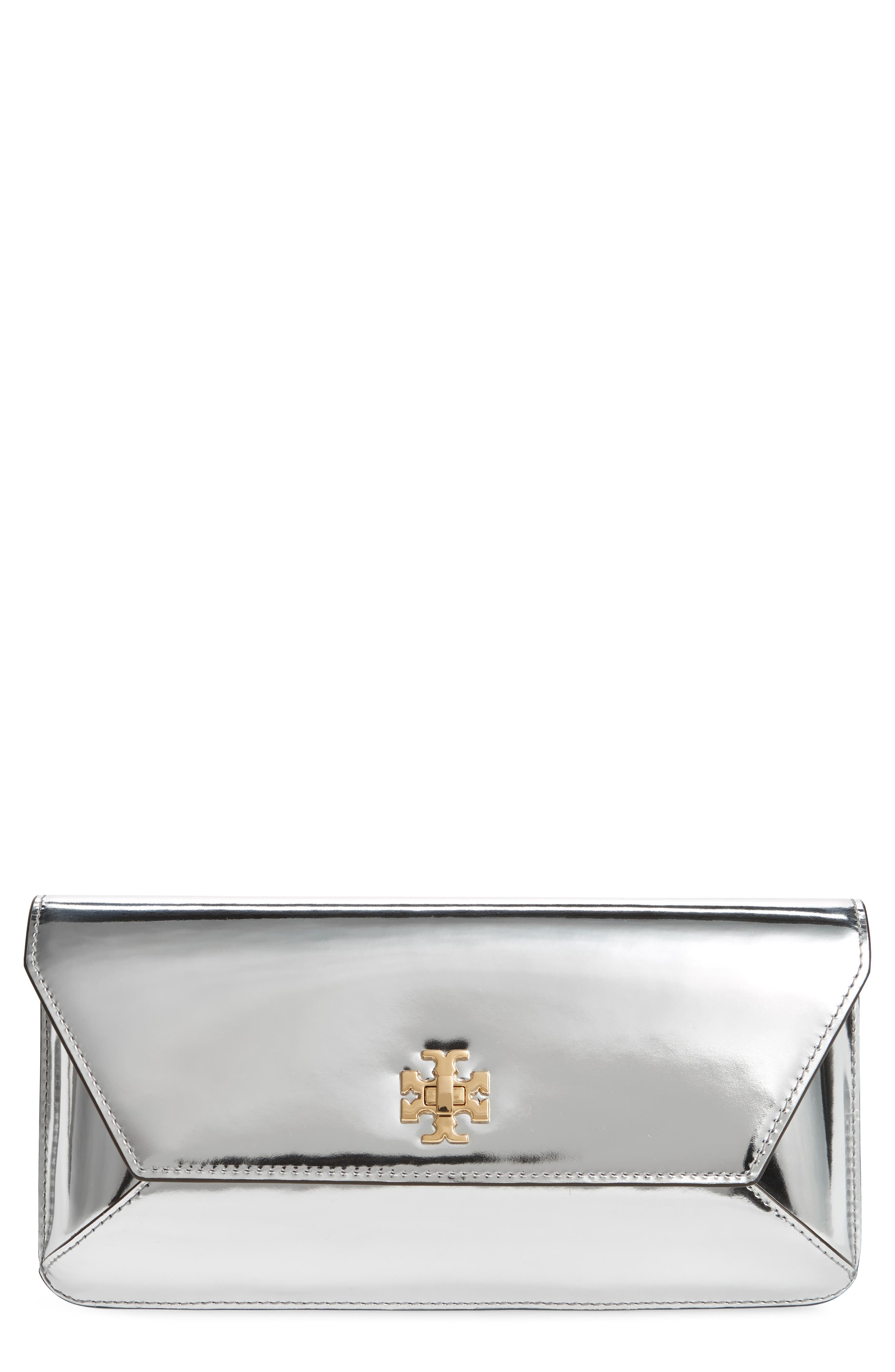 TORY BURCH, Kira Leather Envelope Clutch, Main thumbnail 1, color, MIRROR METALLIC SILVER