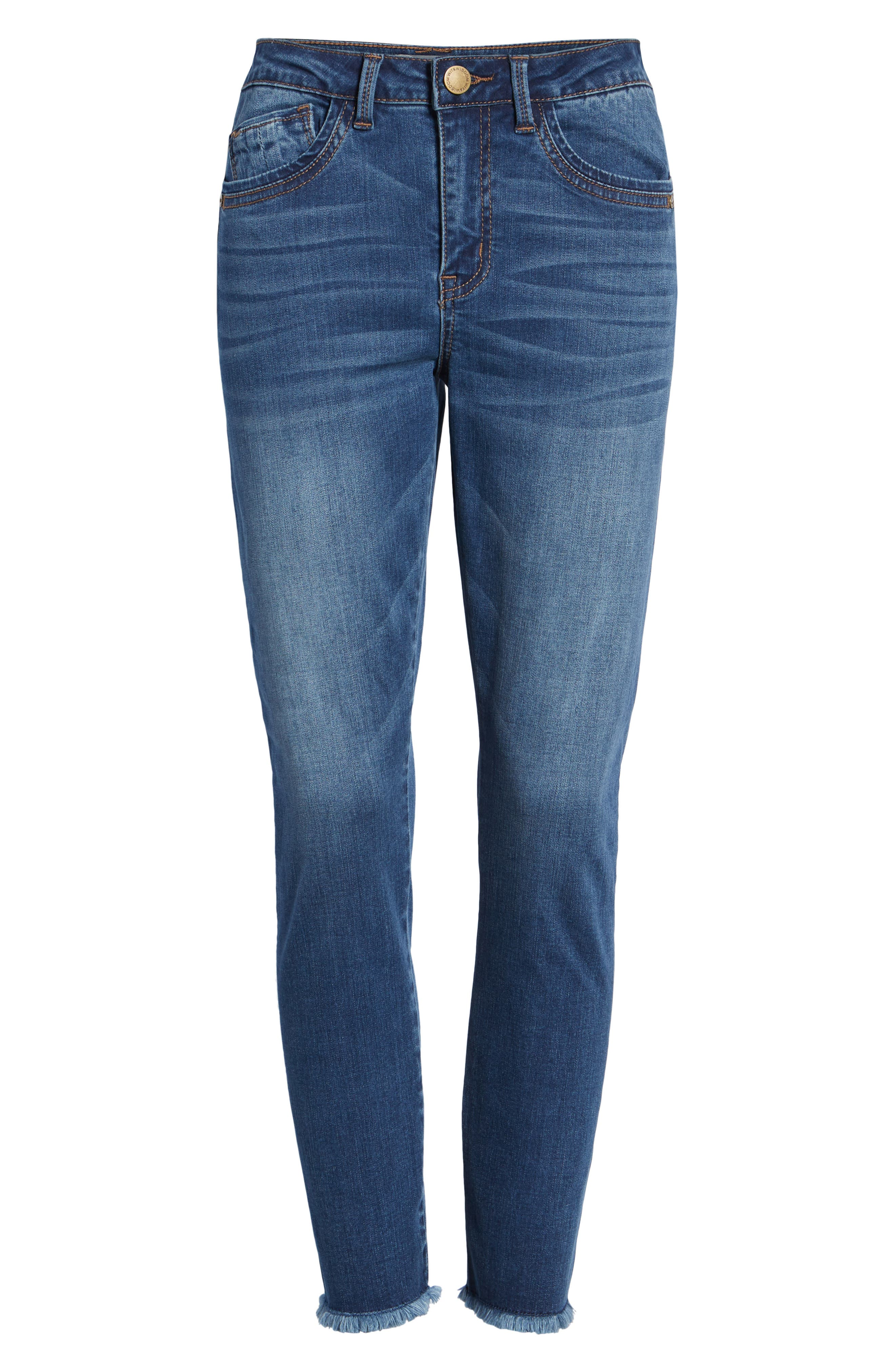 WIT & WISDOM, High Waist Fray Hem Seamless Skinny Ankle Jeans, Alternate thumbnail 7, color, BLUE
