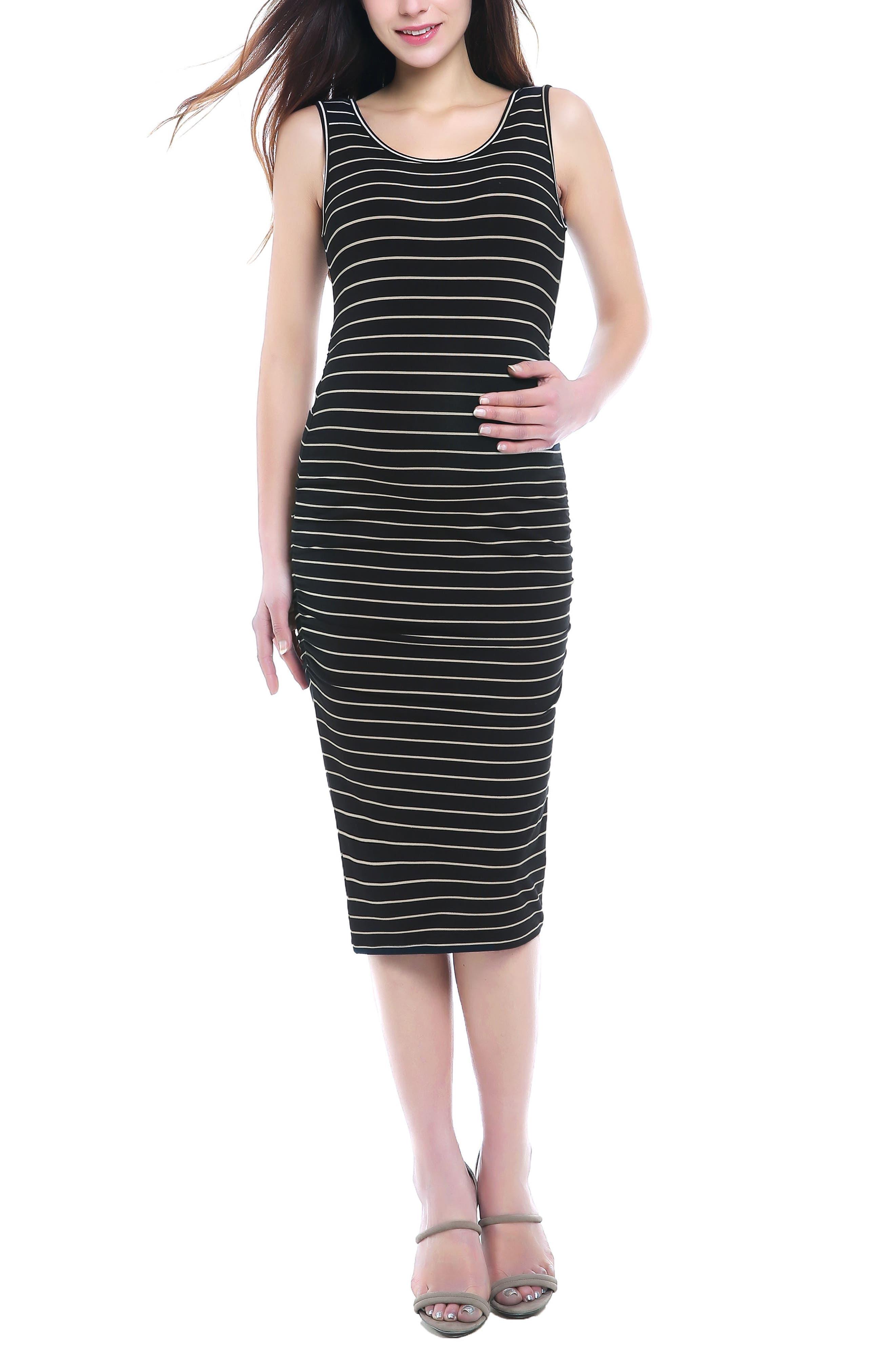 KIMI AND KAI, Tobi Stripe Maternity Dress, Main thumbnail 1, color, BLACK/ BEIGE