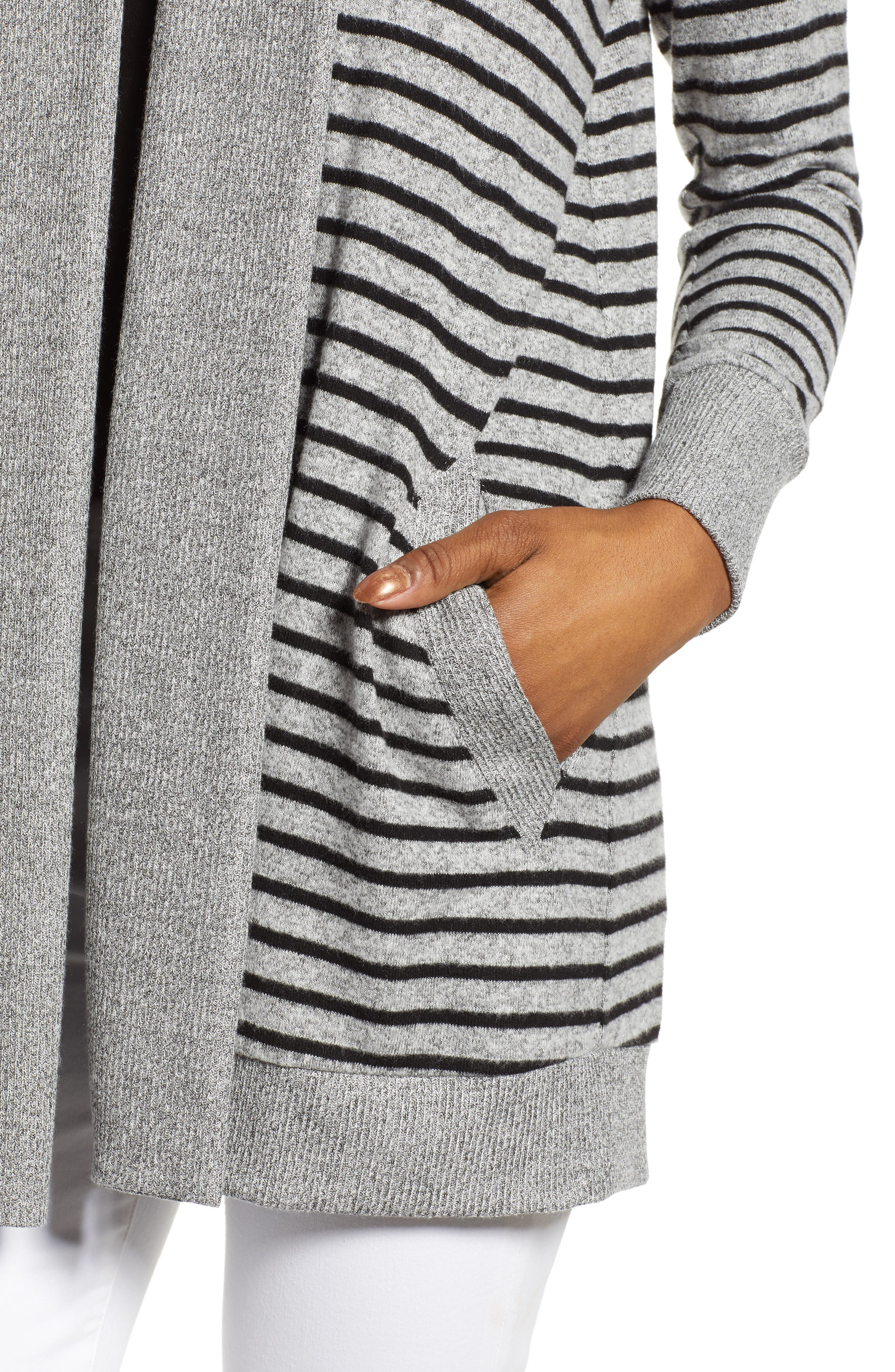 GIBSON, Cozy Ribbed Cardigan, Alternate thumbnail 4, color, GREY/ BLACK STRIPE