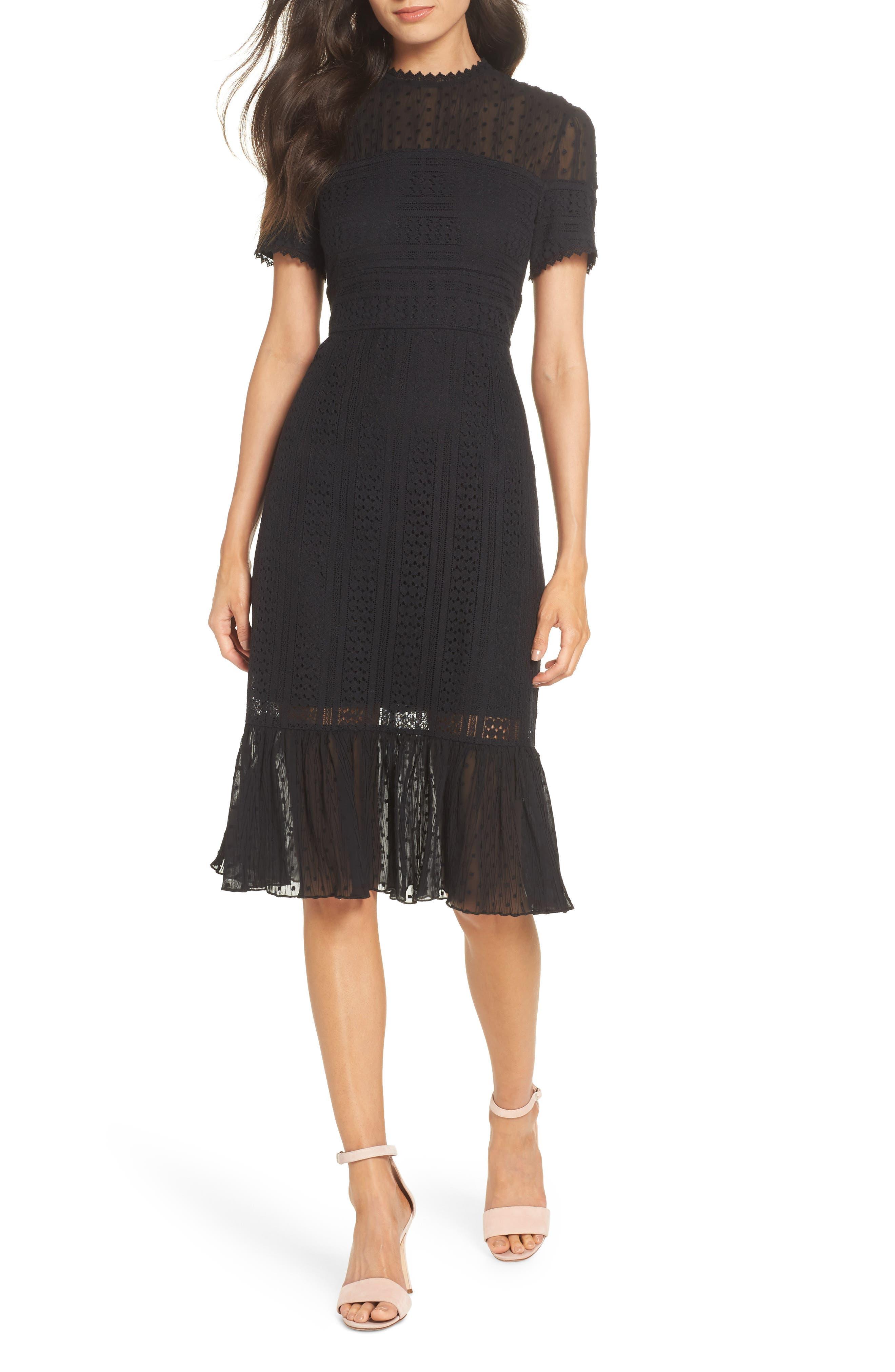 CHELSEA28 Lace & Swiss Dot Dress, Main, color, 001