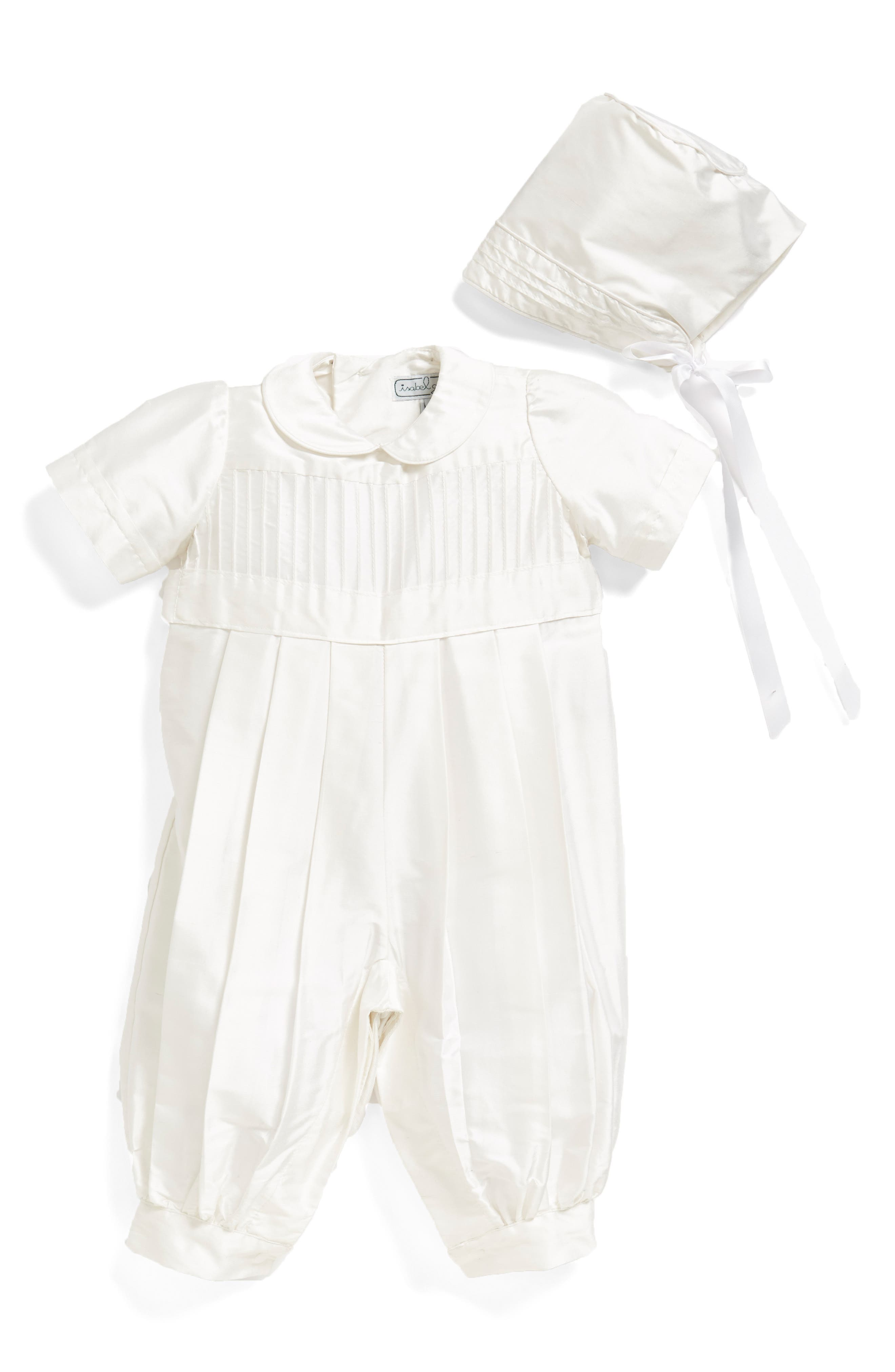 ISABEL GARRETON, Tucked Silk Romper & Bonnet, Alternate thumbnail 6, color, WHITE