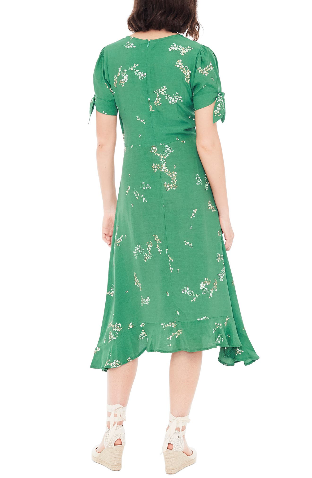 FAITHFULL THE BRAND, Emilia Floral Midi Dress, Alternate thumbnail 2, color, MYRTILLE FLORAL PRINT - GREEN