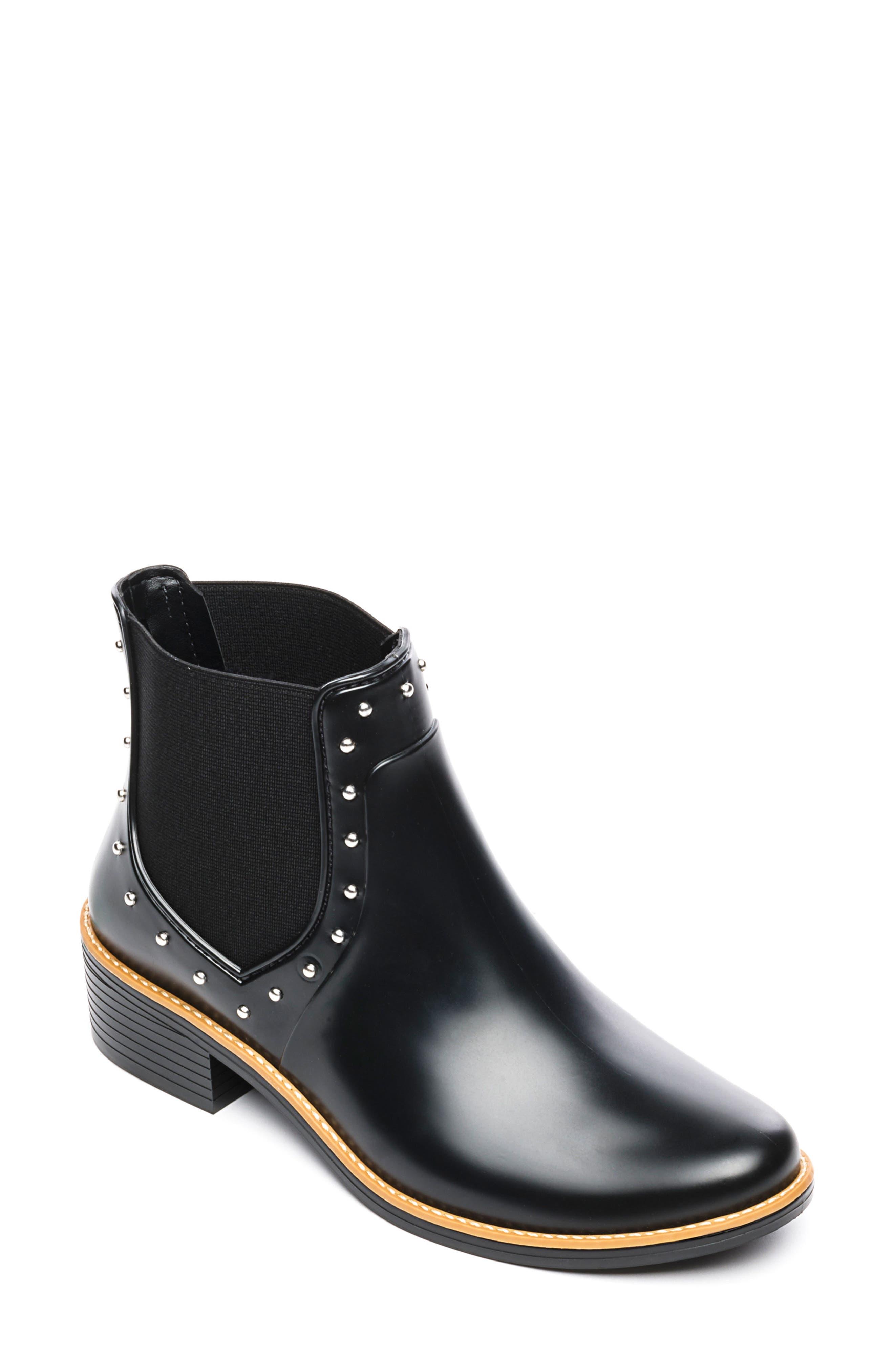 BERNARDO Peyton Waterproof Rain Bootie, Main, color, BLACK