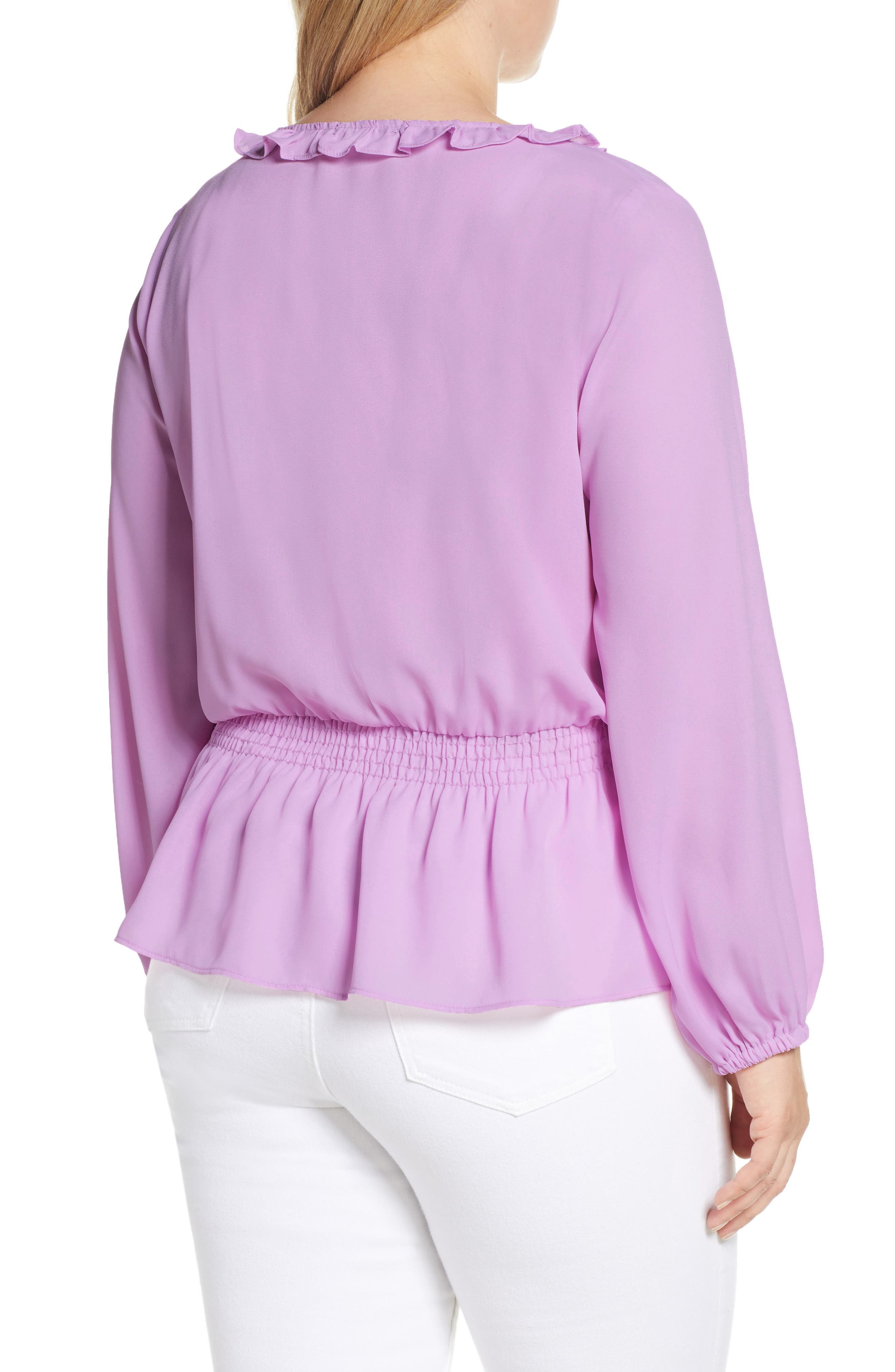 GIBSON, x International Women's Day Roselyn Ruffle Detail Smock Waist Blouse, Alternate thumbnail 8, color, LAVENDER LILY