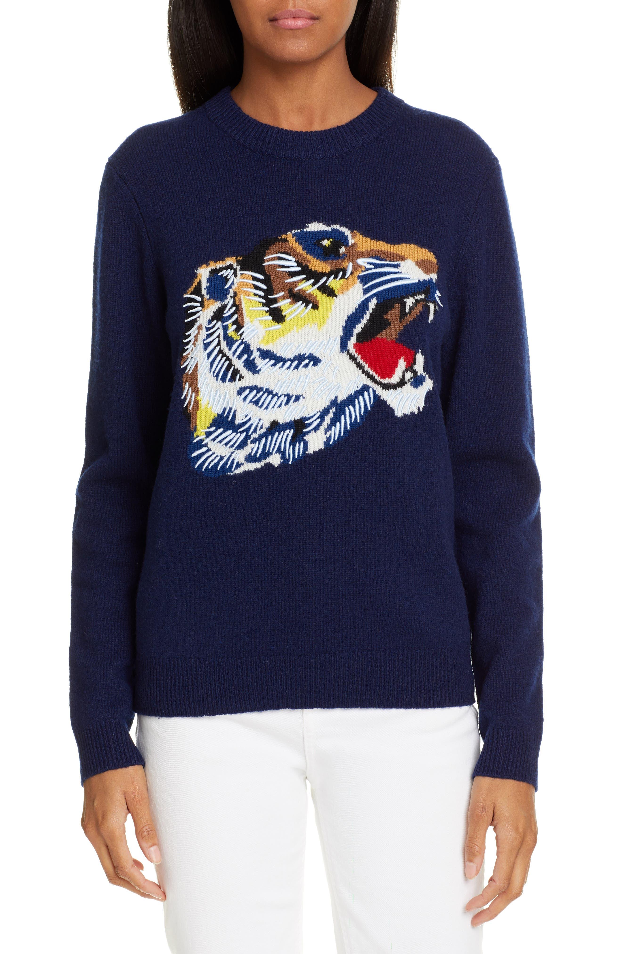 Kenzo Tiger Head Wool Sweater, Blue