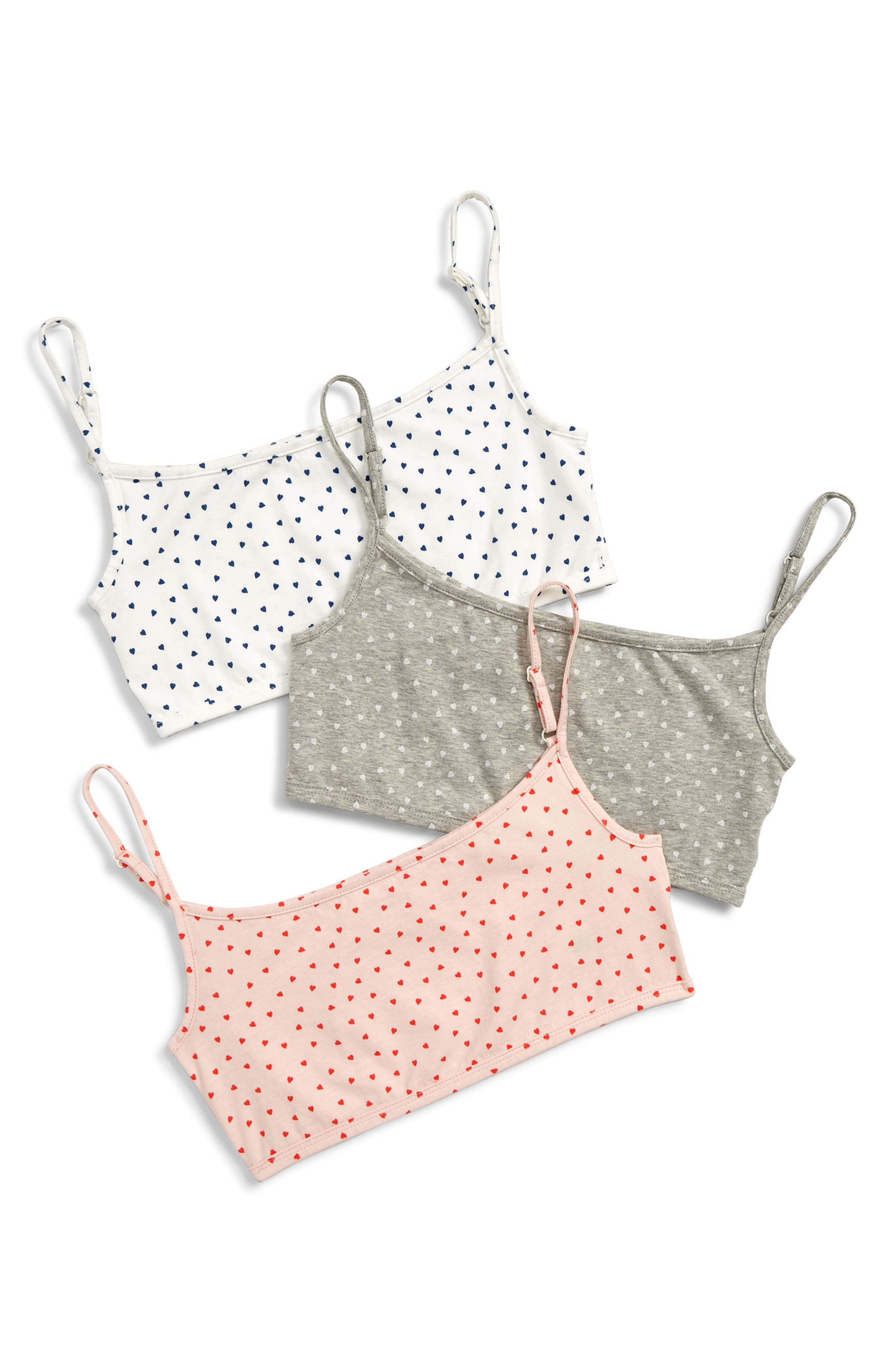 MINI BODEN 3-Pack Crop Tops, Main, color, GREY SWEET HEART