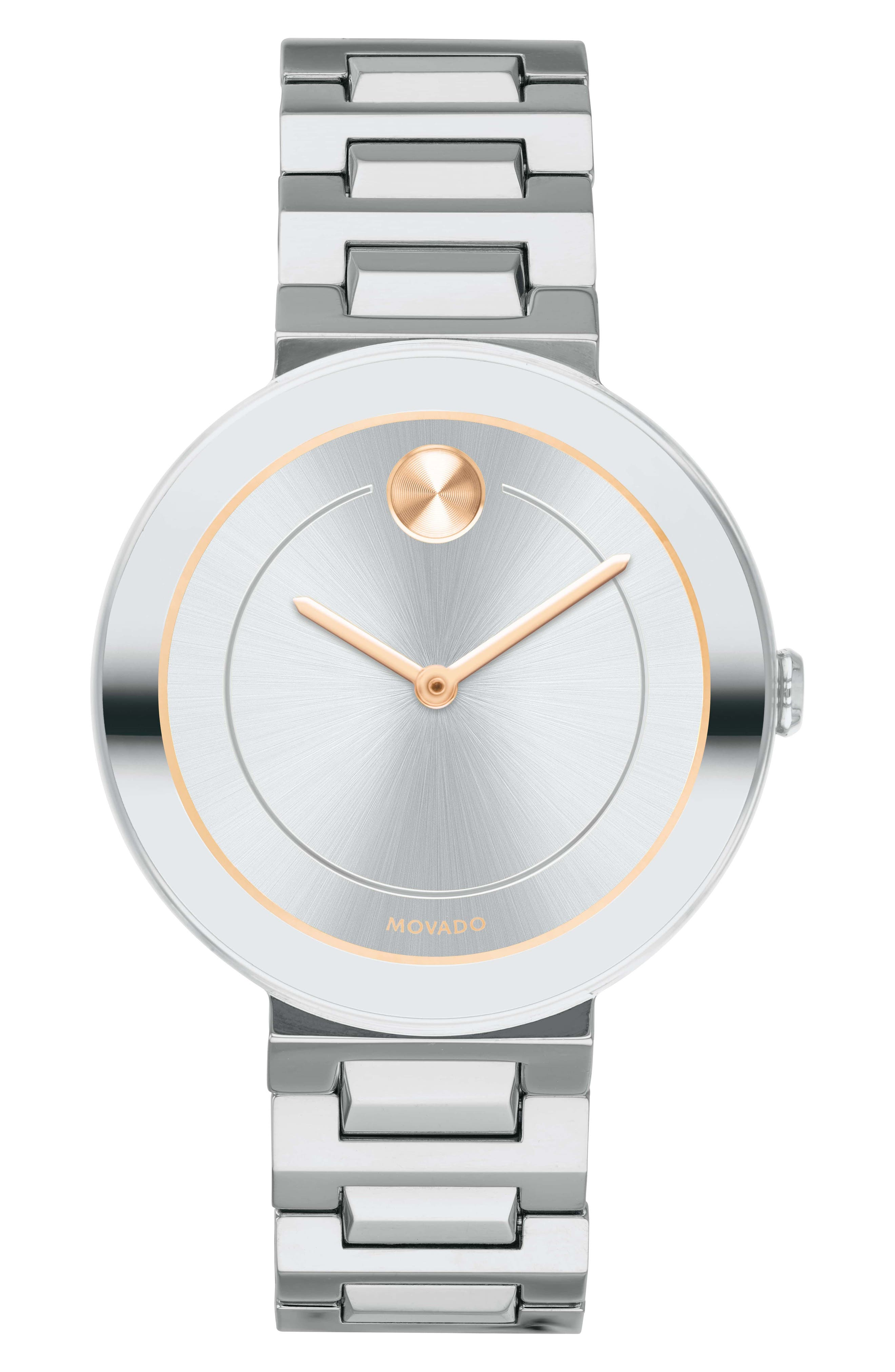 MOVADO, Bold Bracelet Watch, 34mm, Main thumbnail 1, color, SILVER