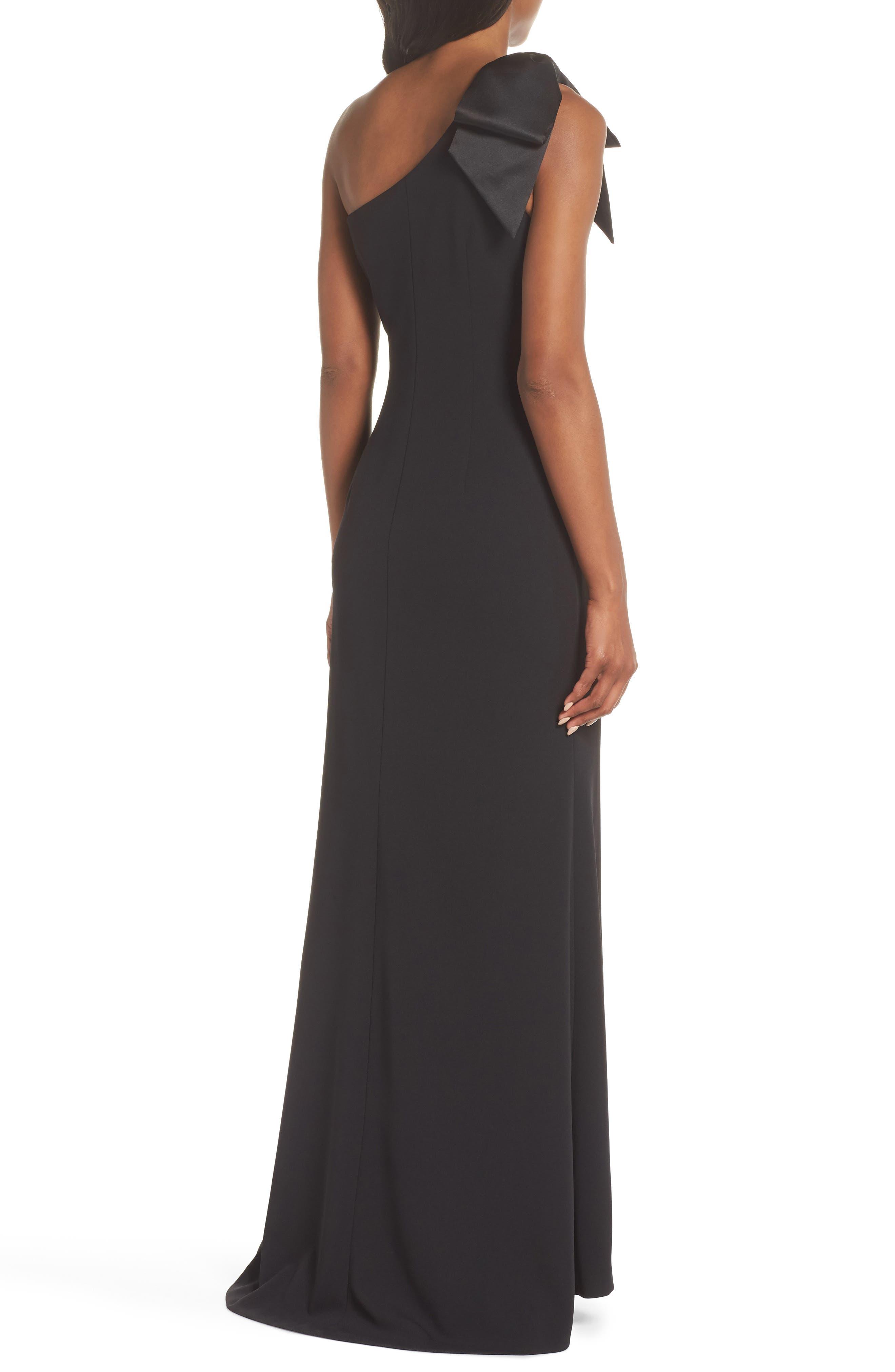 ELIZA J, One-Shoulder A-Line Gown, Alternate thumbnail 2, color, BLACK