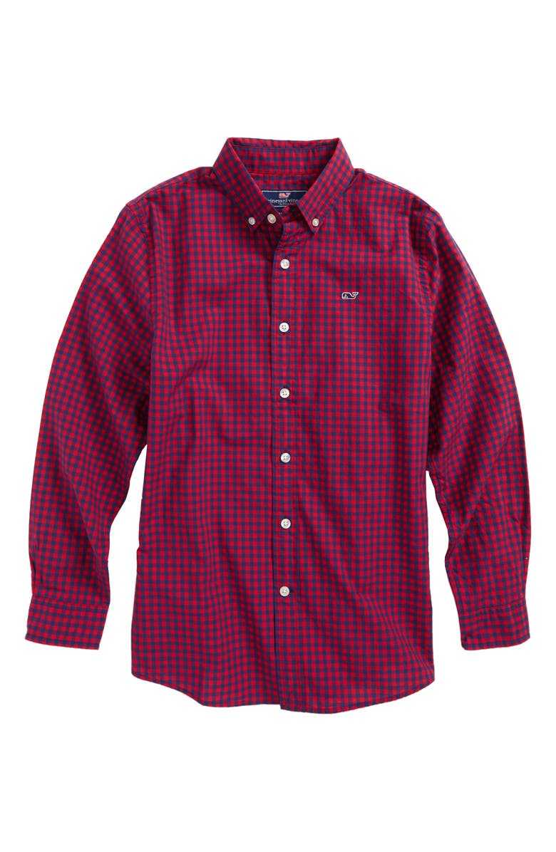 954807a7 vineyard vines Bentley Gingham Whale Shirt (Big Boys) | Nordstrom