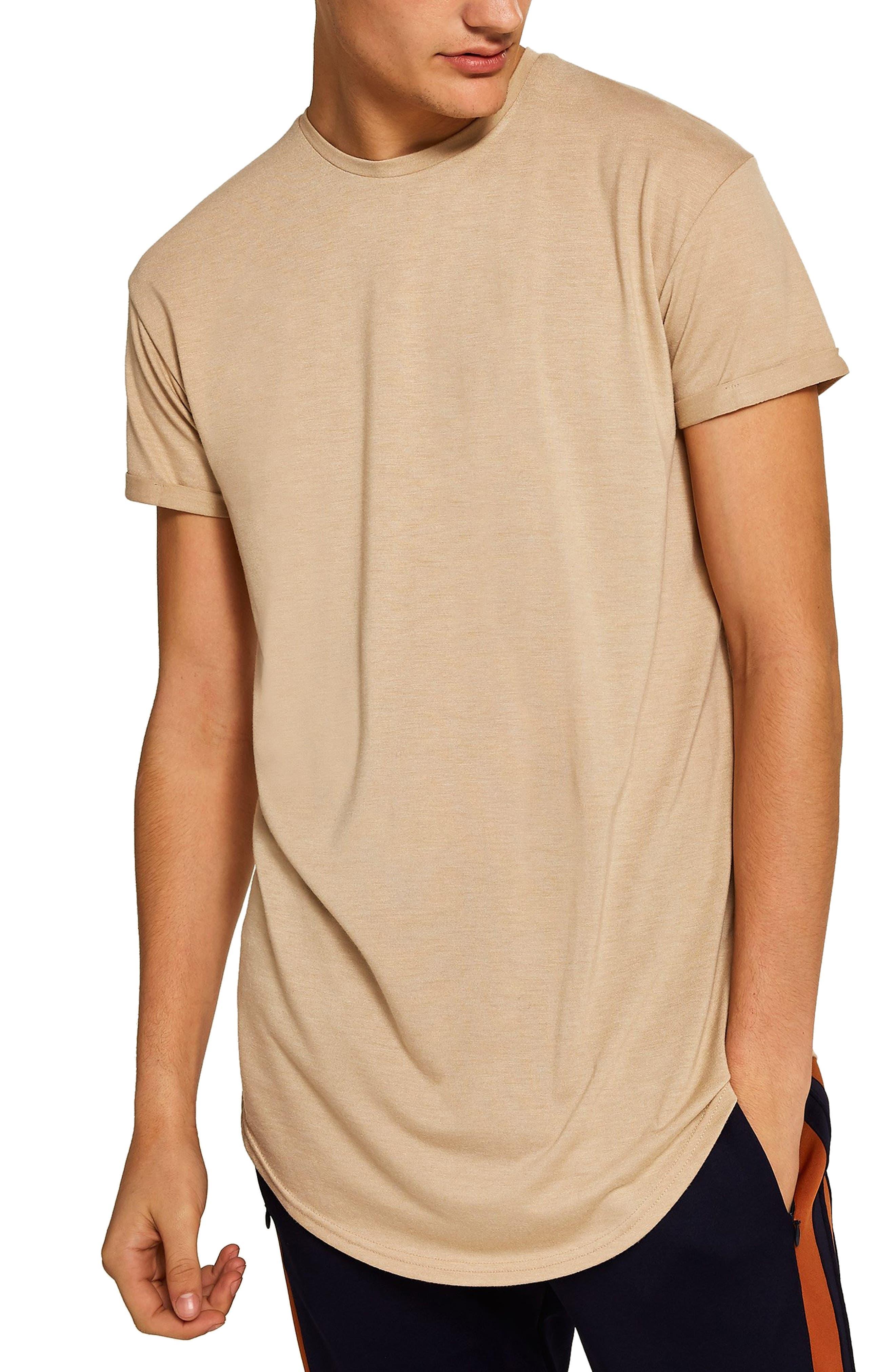 TOPMAN, Scotty Longline T-Shirt, Main thumbnail 1, color, STONE