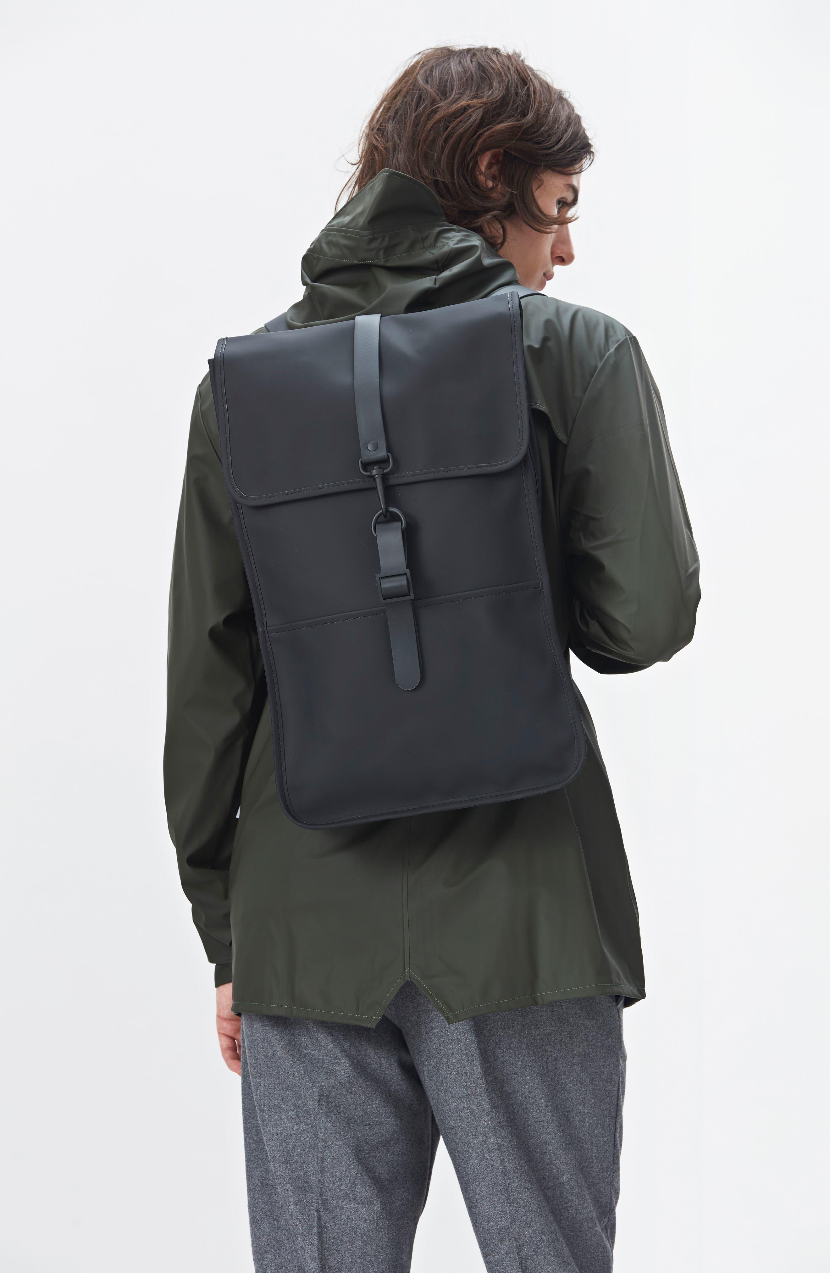 RAINS, Waterproof Backpack, Alternate thumbnail 4, color, BLACK