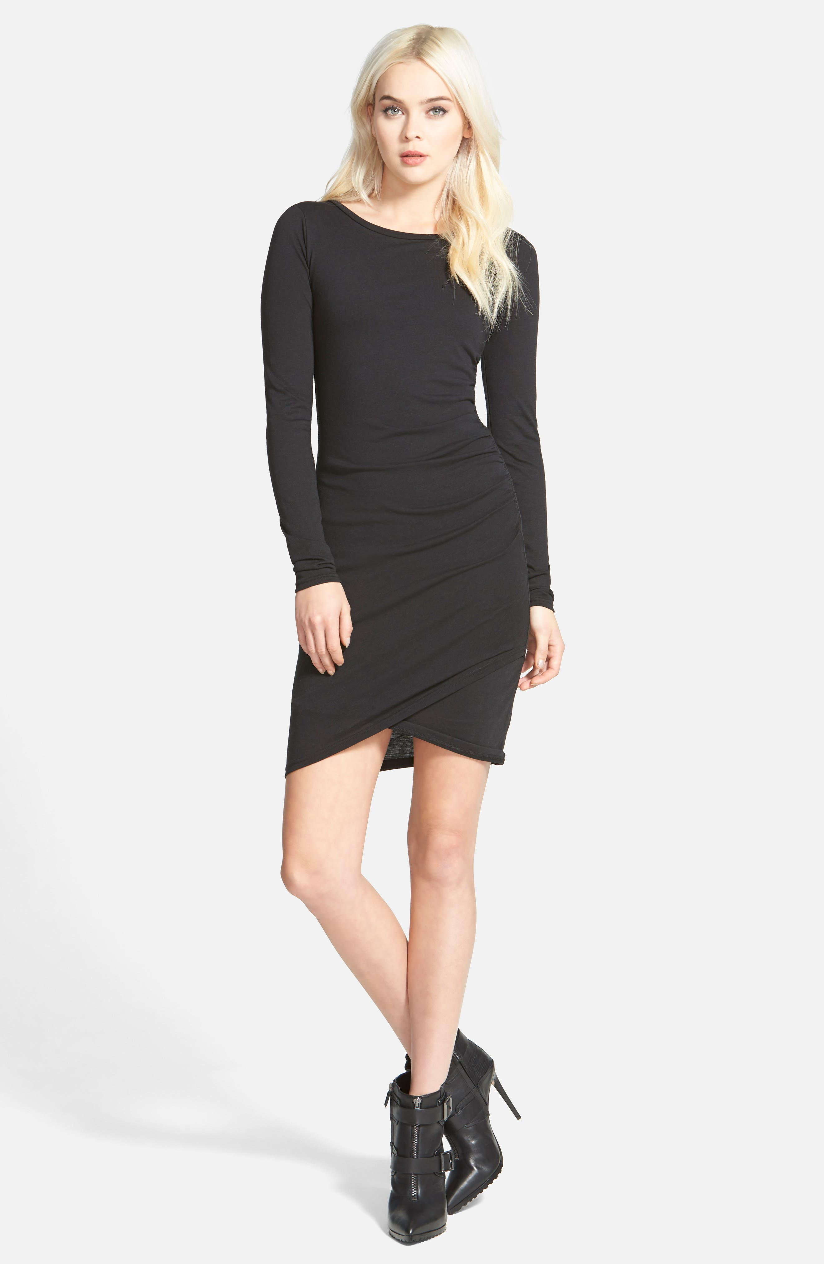 LEITH, Ruched Long Sleeve Dress, Alternate thumbnail 9, color, 001