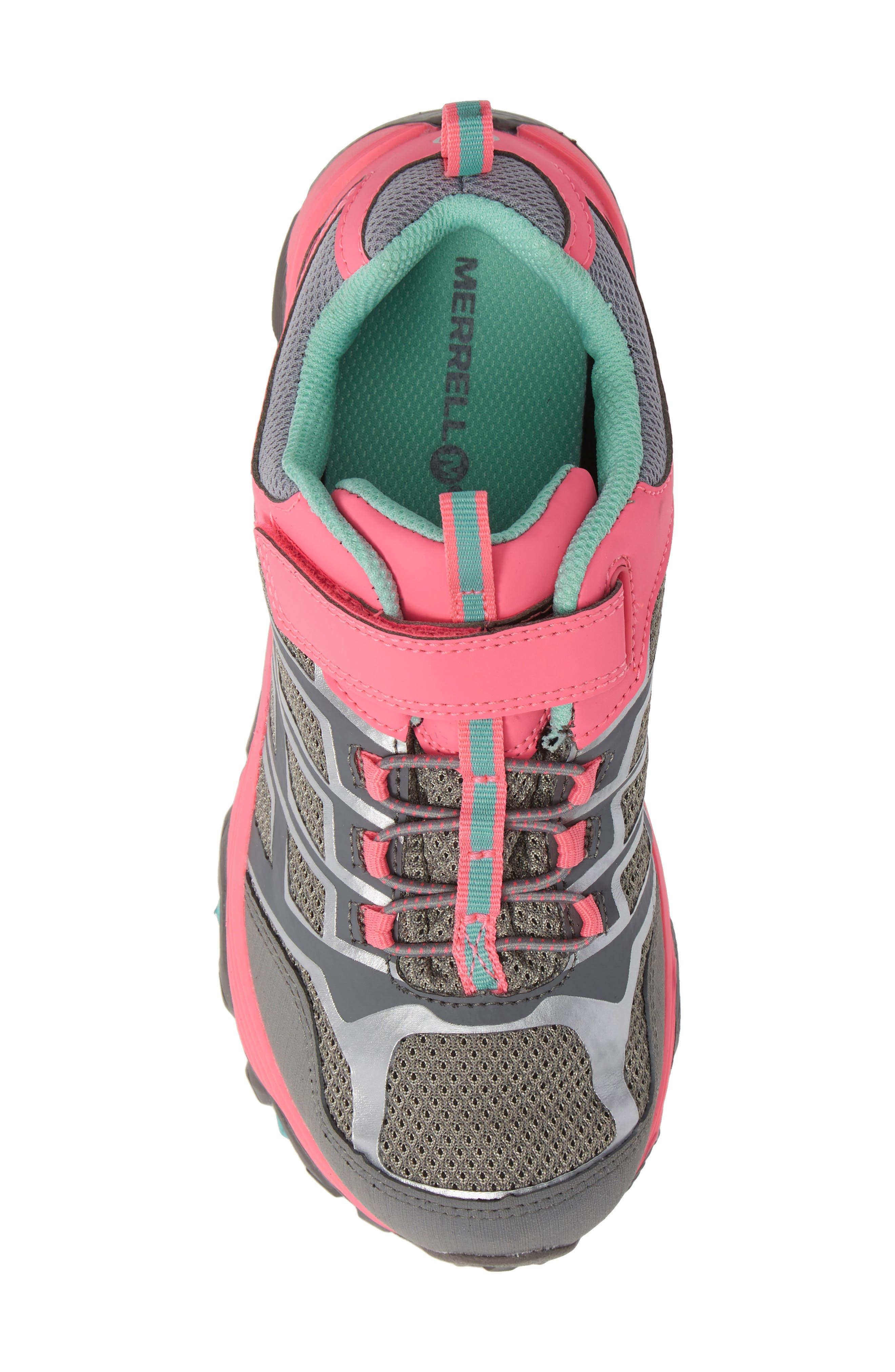 MERRELL, Moab FST Polar Low Waterproof Sneaker, Alternate thumbnail 5, color, GREY/ CORAL
