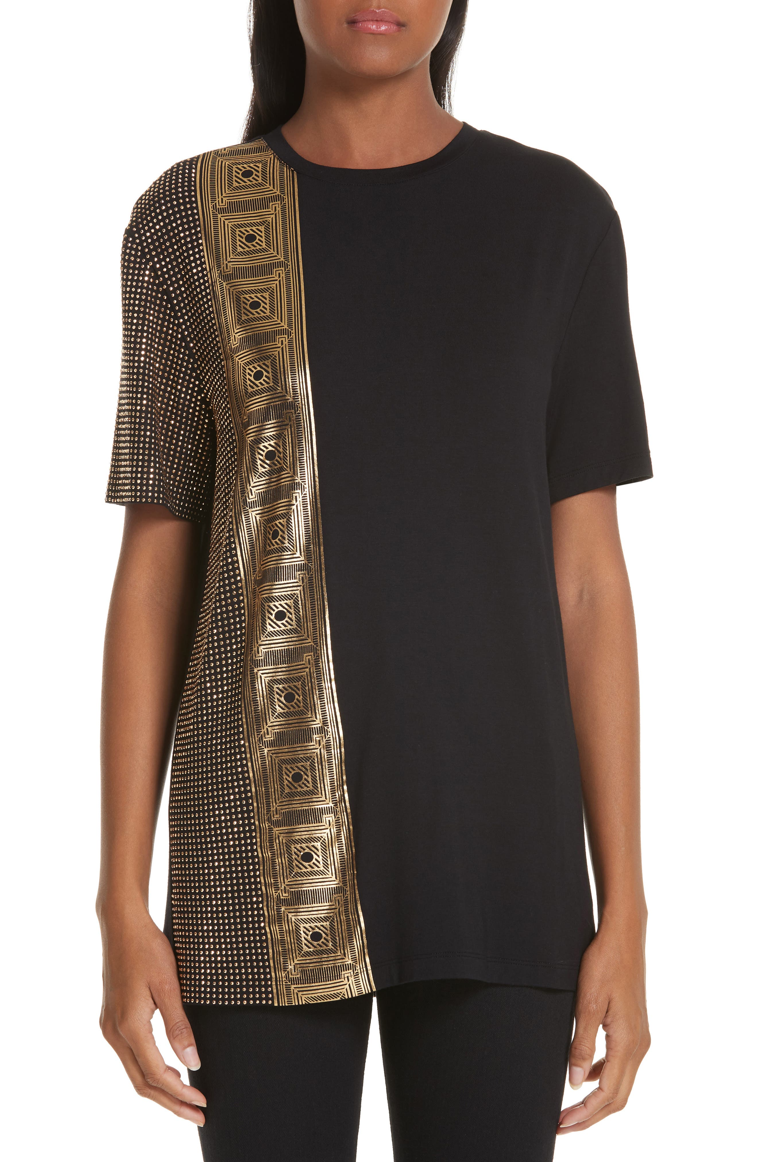VERSACE COLLECTION, Embellished Tee, Main thumbnail 1, color, BLACK